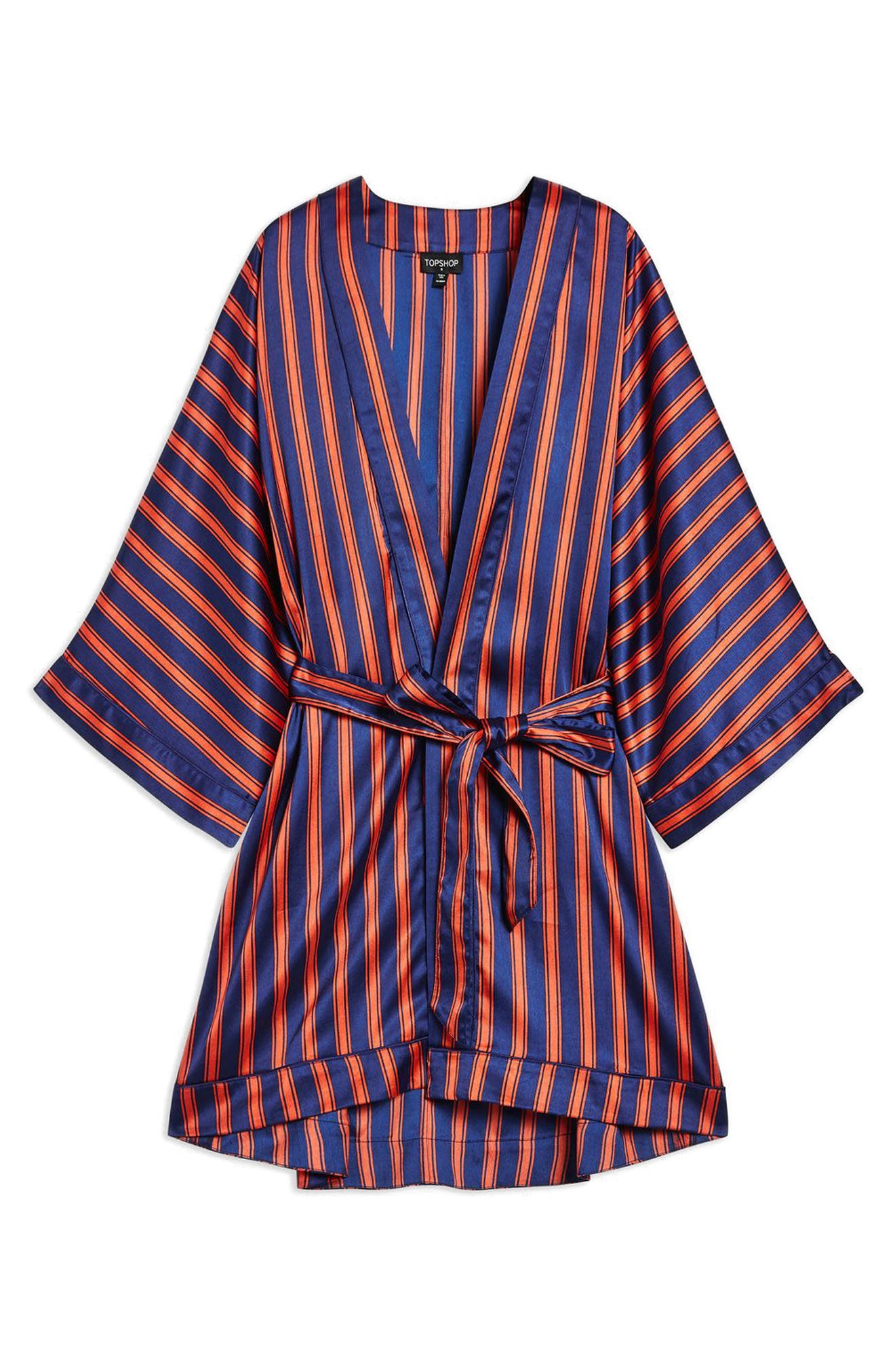 Stripe Satin Short Robe,                             Alternate thumbnail 3, color,                             NAVY MULTI