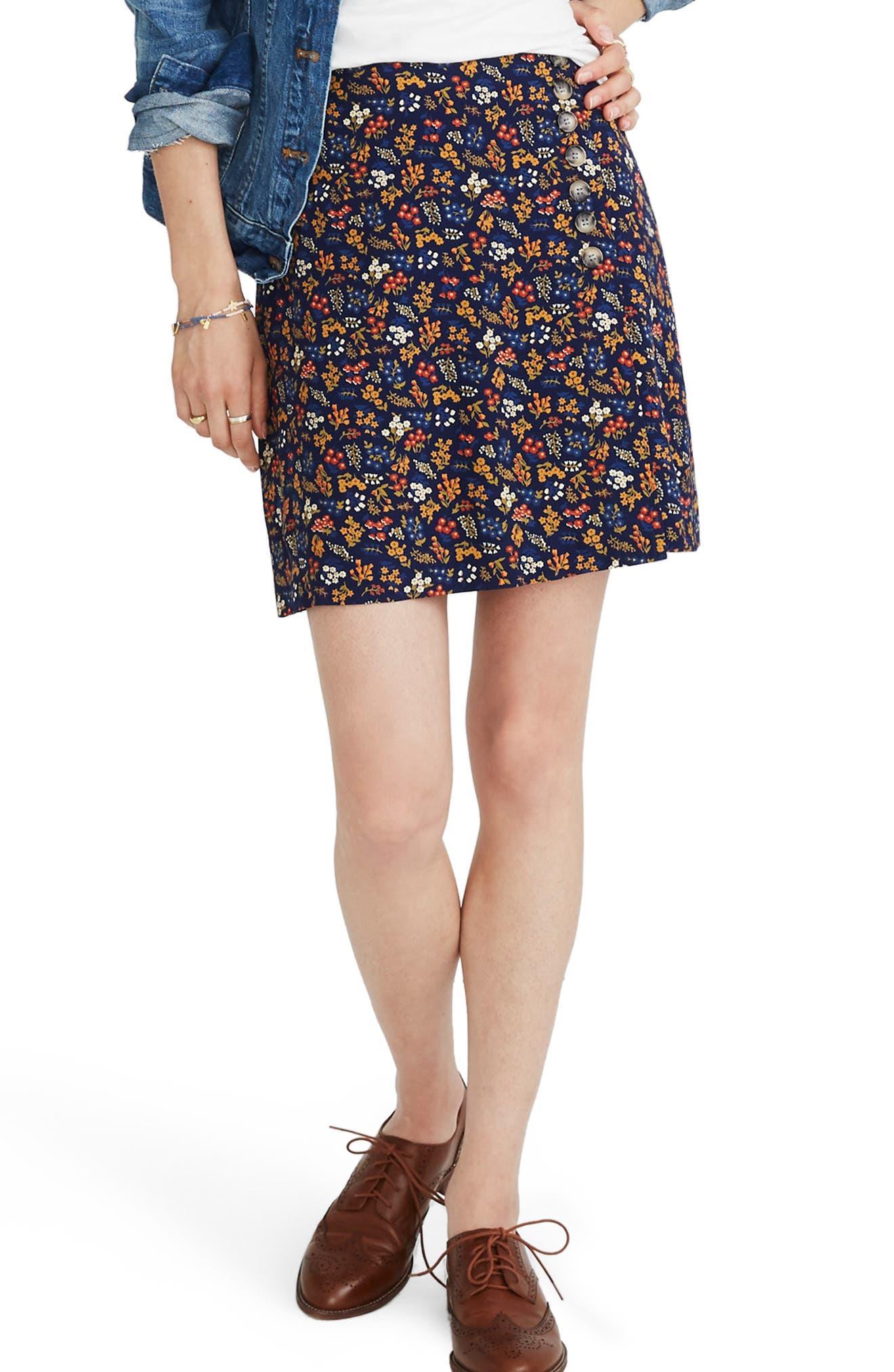 Madewell Side Button A-Line Miniskirt, Blue