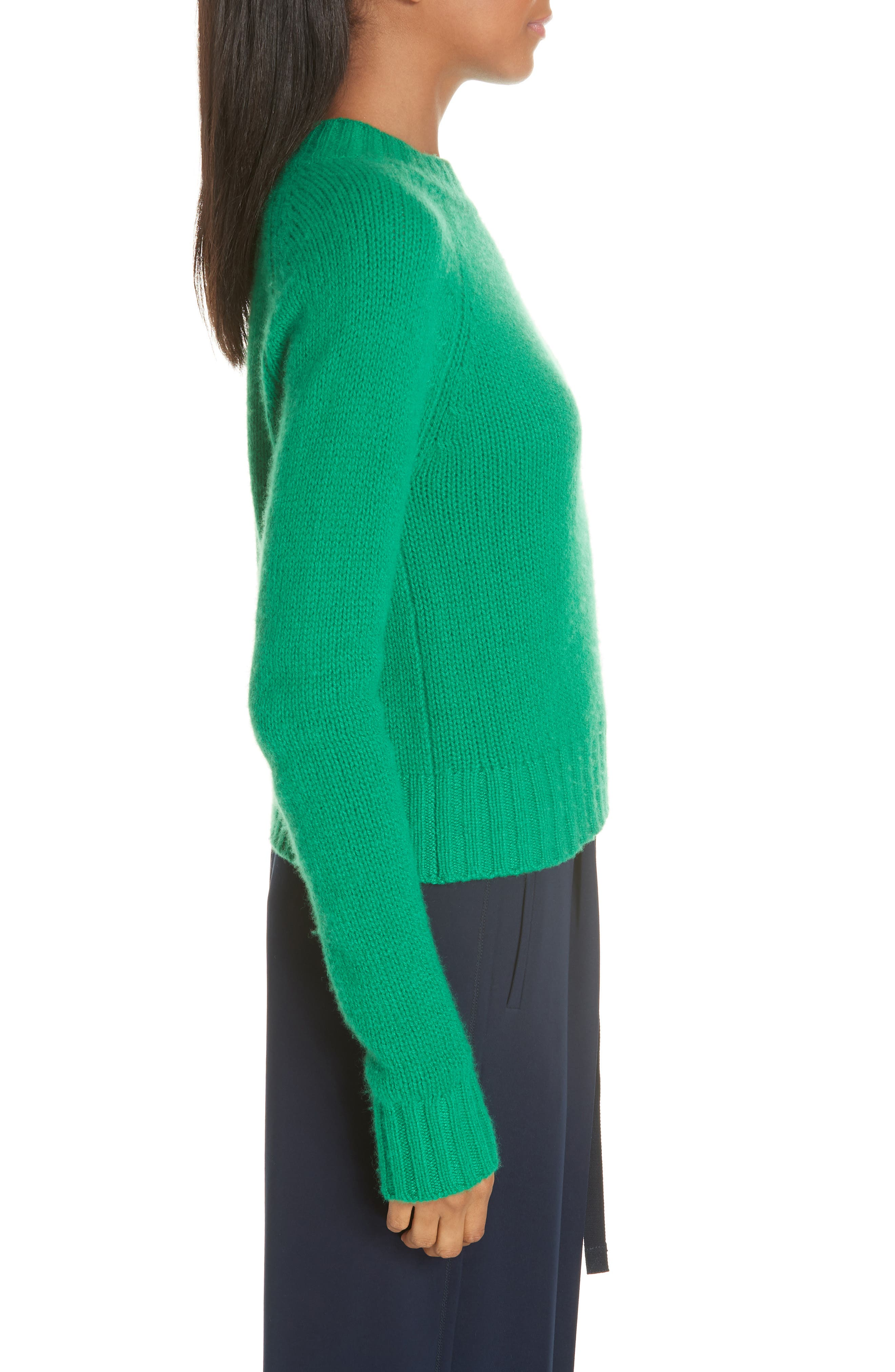Shrunken Cashmere Sweater,                             Alternate thumbnail 3, color,                             LEAF
