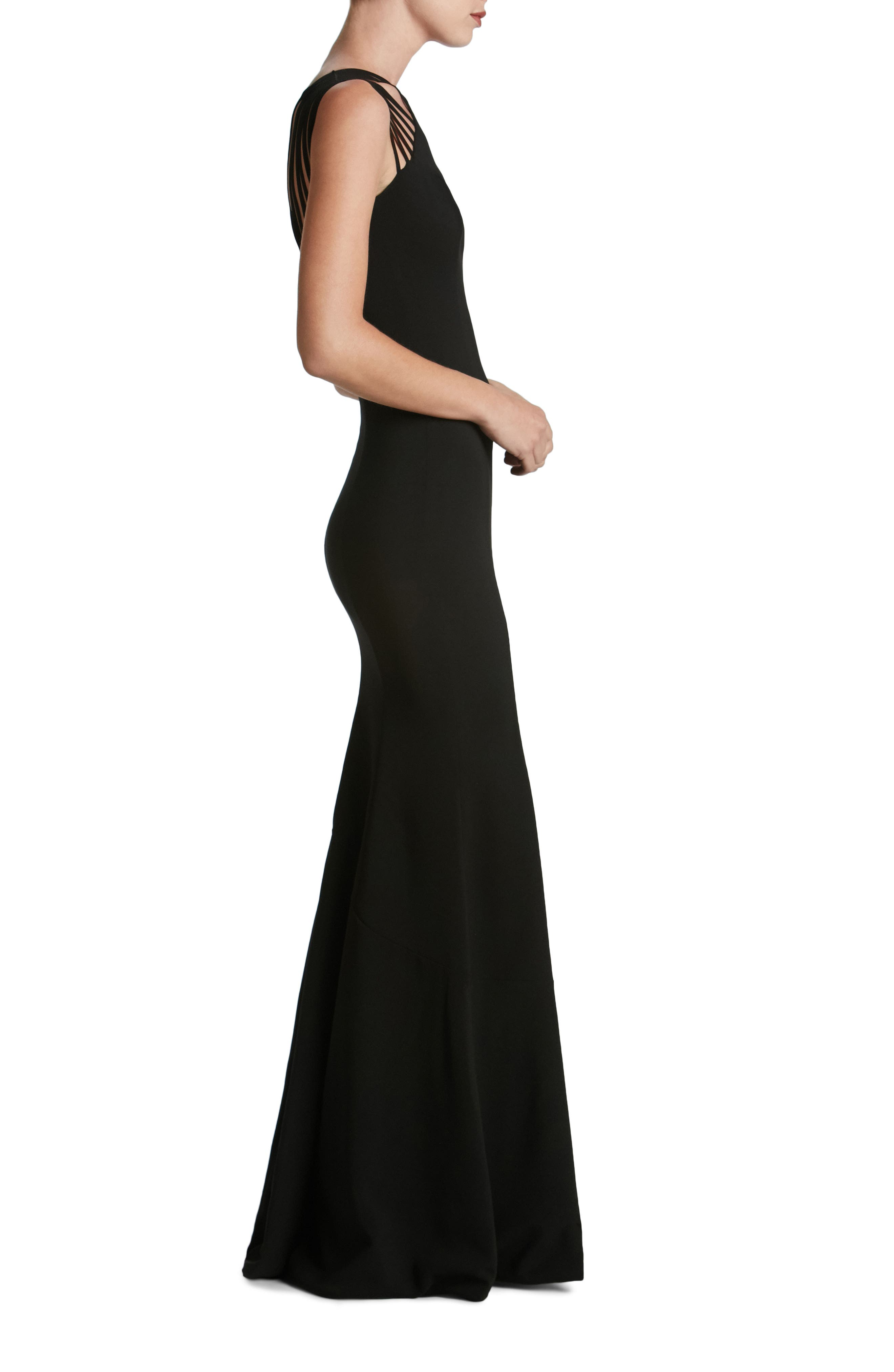 Harlow Crepe Gown,                             Alternate thumbnail 3, color,                             001
