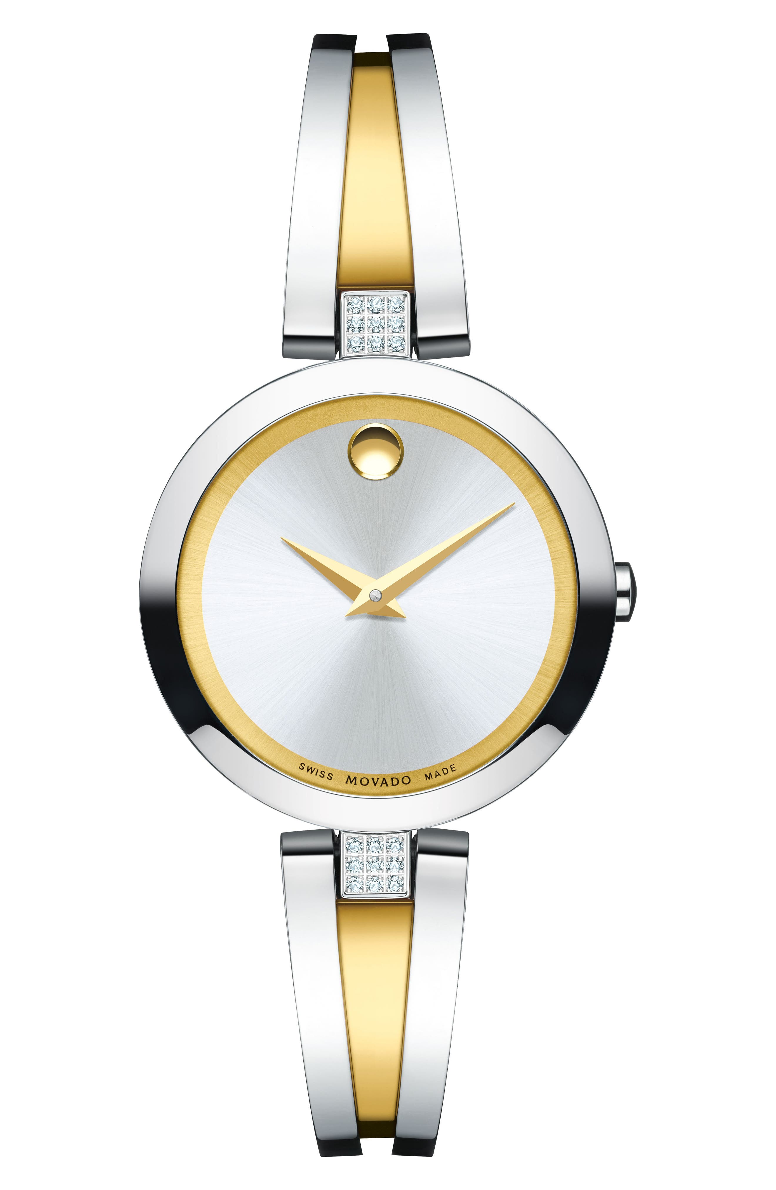 Aleena Diamond Bangle Watch, 30mm,                             Main thumbnail 1, color,                             SILVER/ GOLD