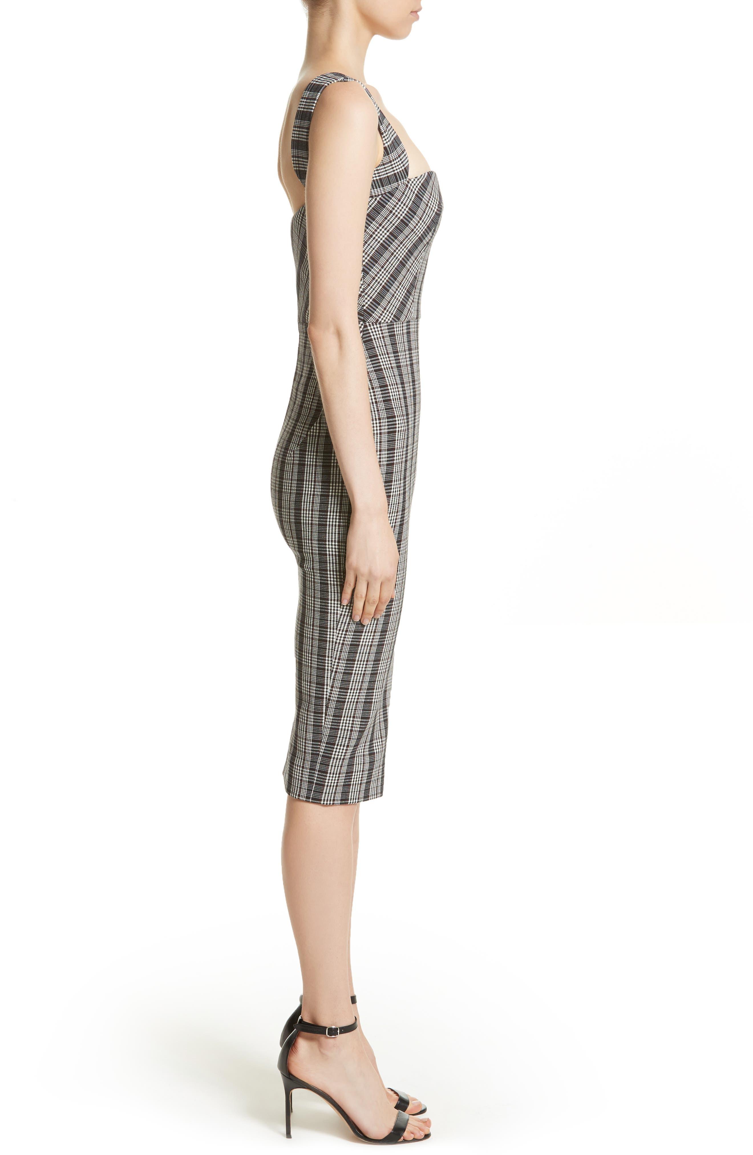 Plaid Curve Cami Dress,                             Alternate thumbnail 3, color,                             001