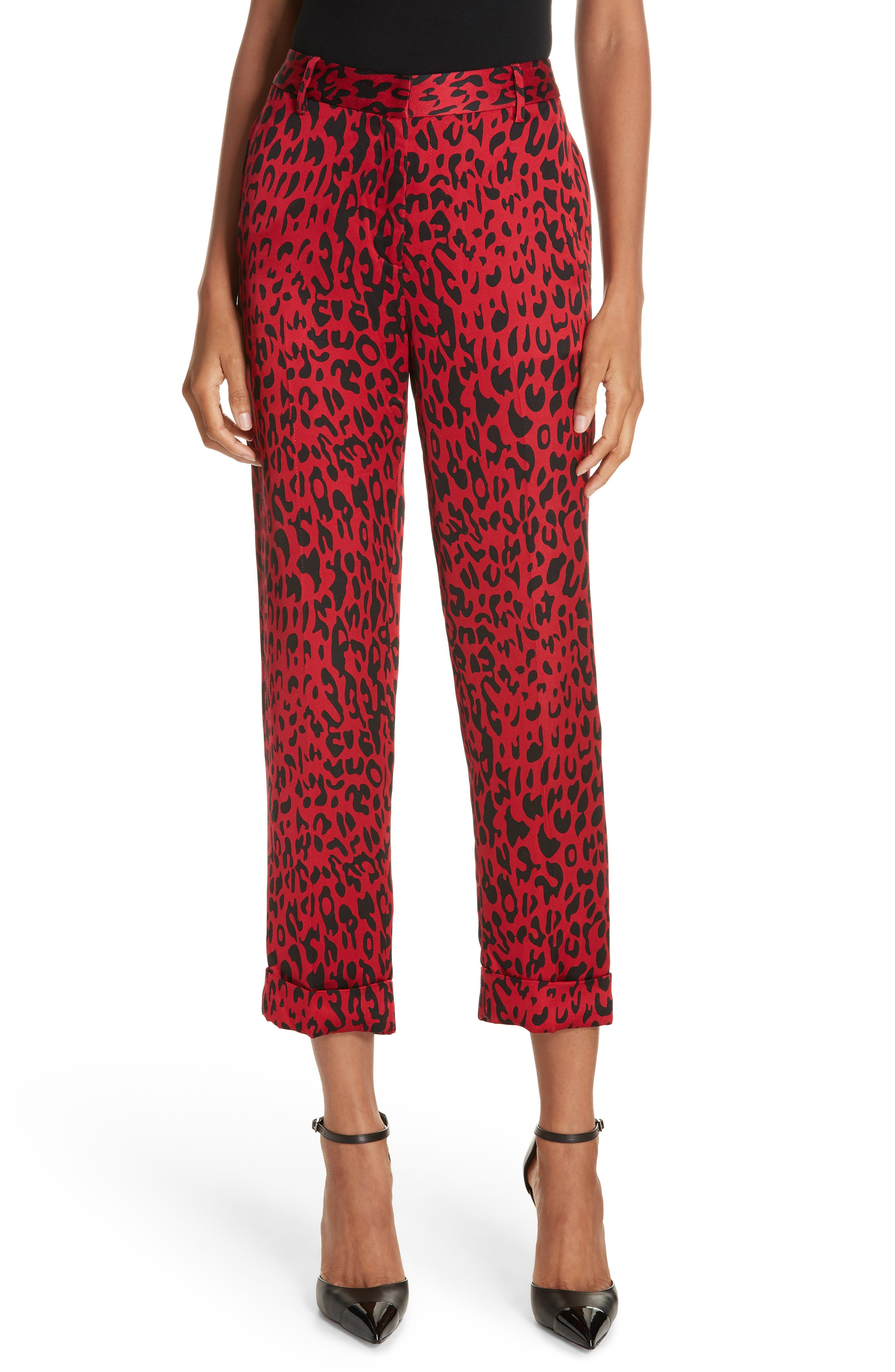 Leopard Print Trousers,                             Main thumbnail 1, color,                             RED LEOPARD