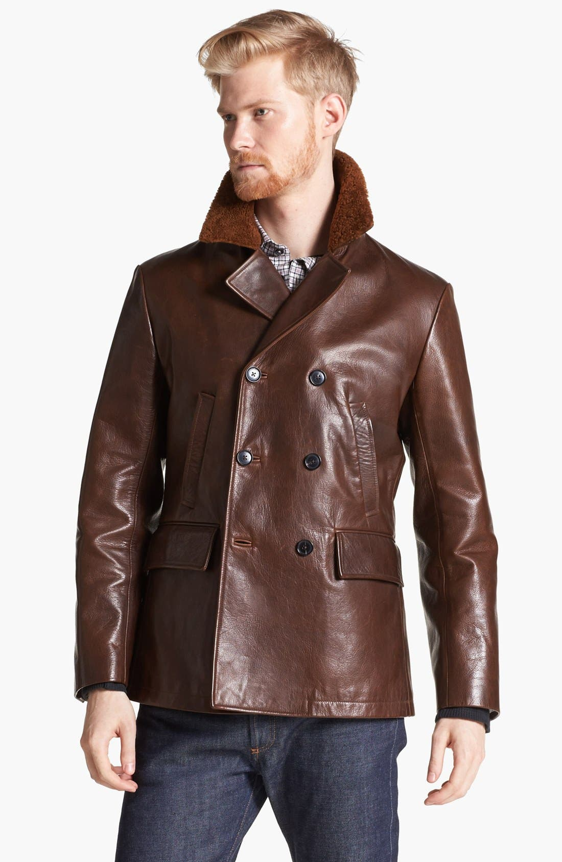BILLY REID Leather Peacoat with Genuine Shearling Collar, Main, color, 200
