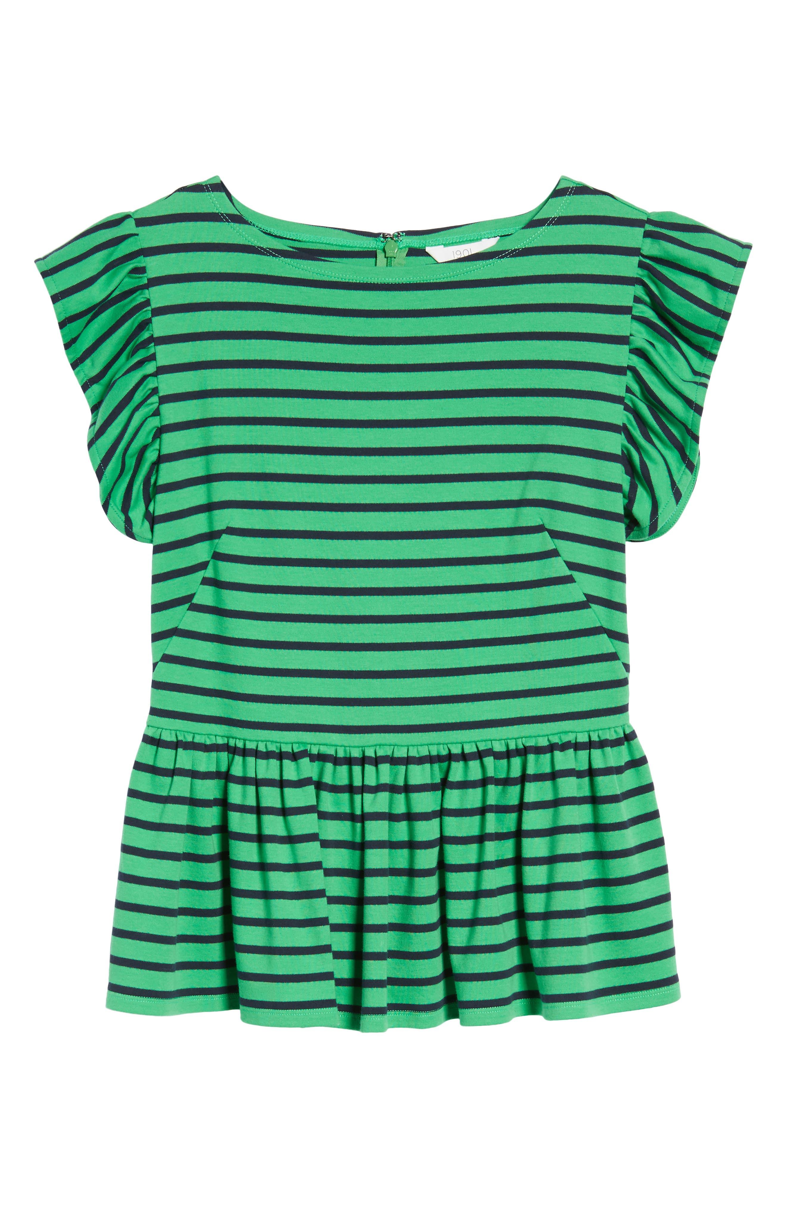 Stripe Knit Peplum Top,                             Alternate thumbnail 21, color,