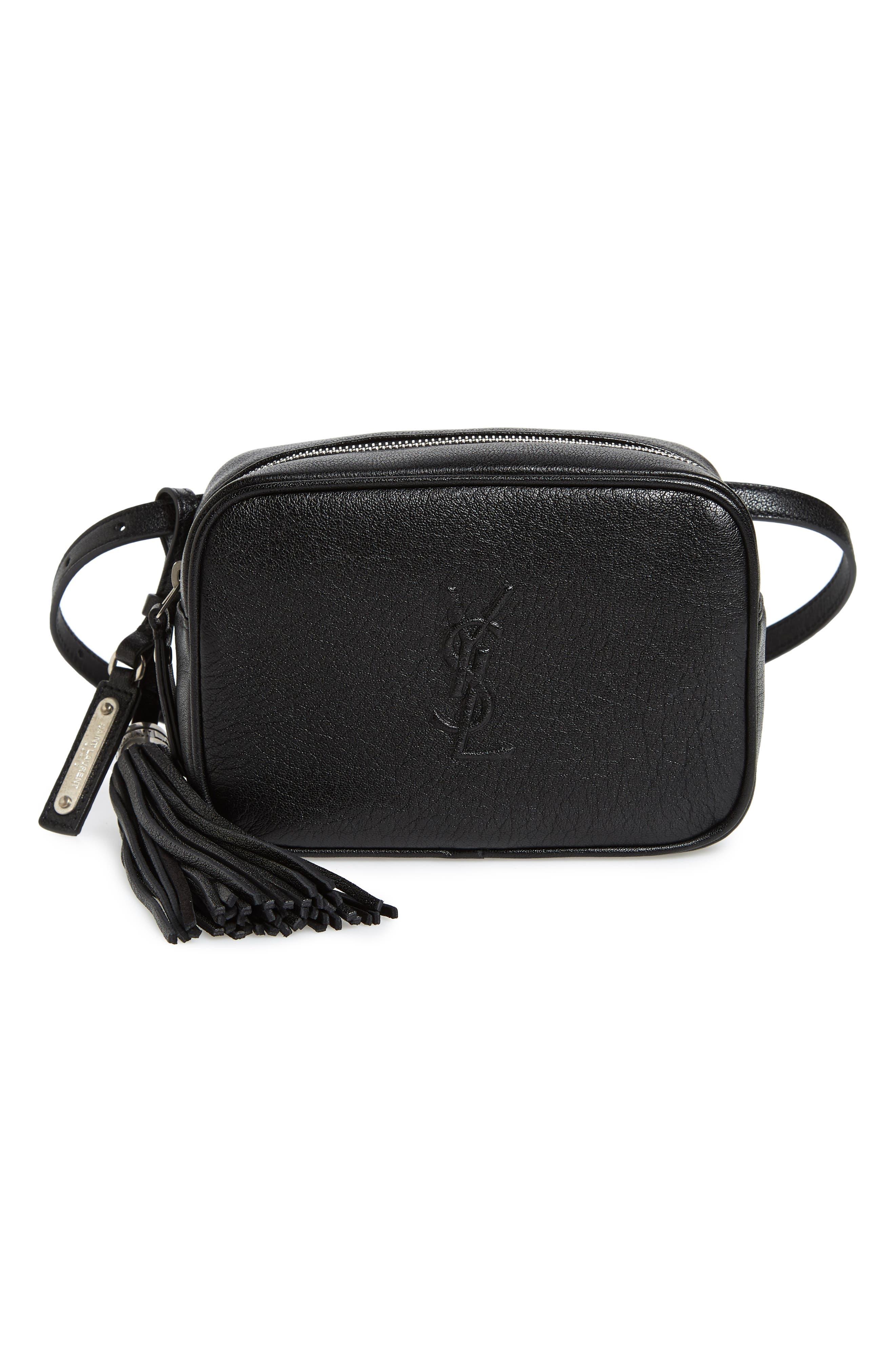 Loulou Tassel Leather Belt Bag,                         Main,                         color, 001