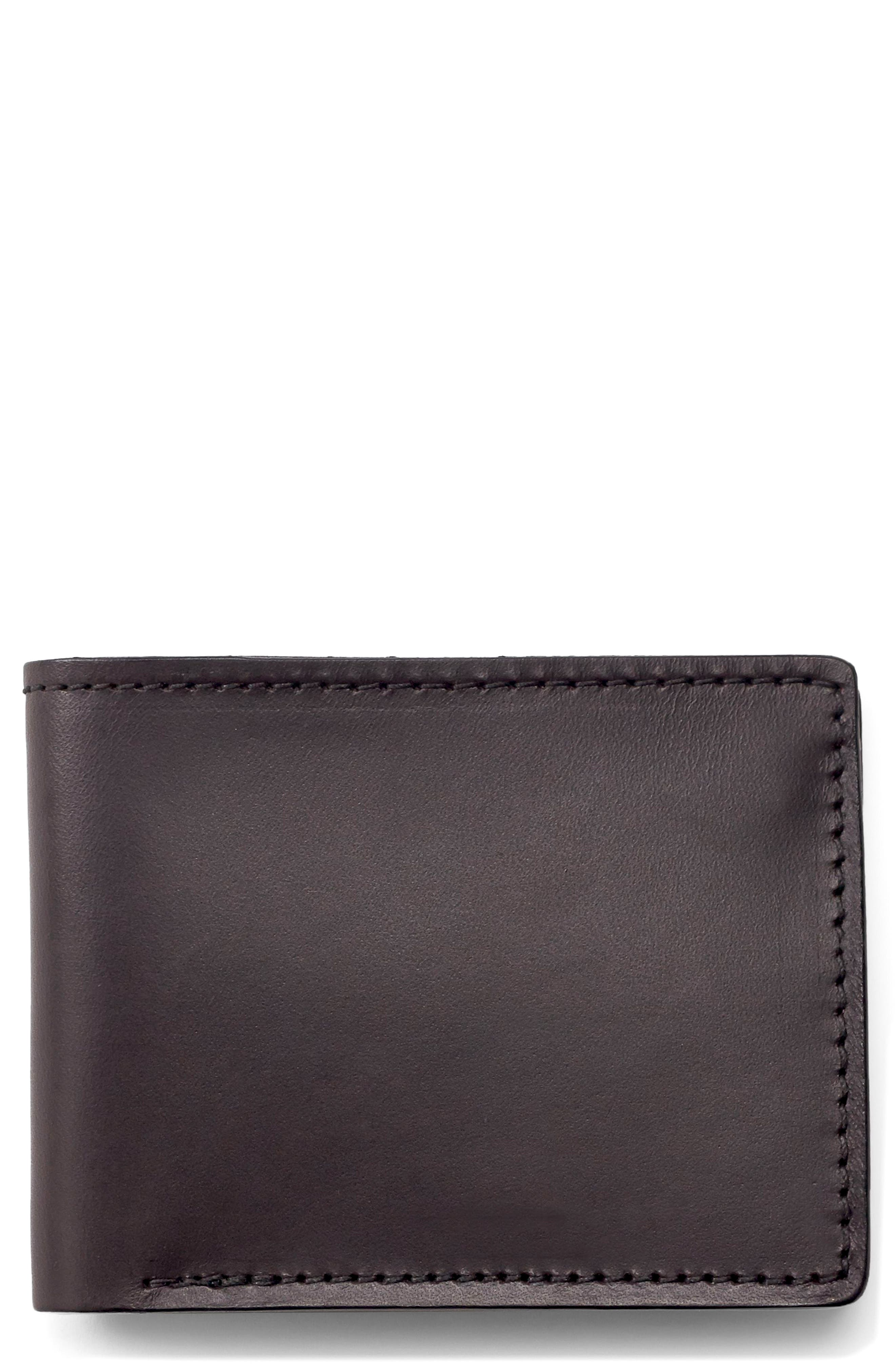Leather Bifold Leather Wallet,                         Main,                         color, BROWN