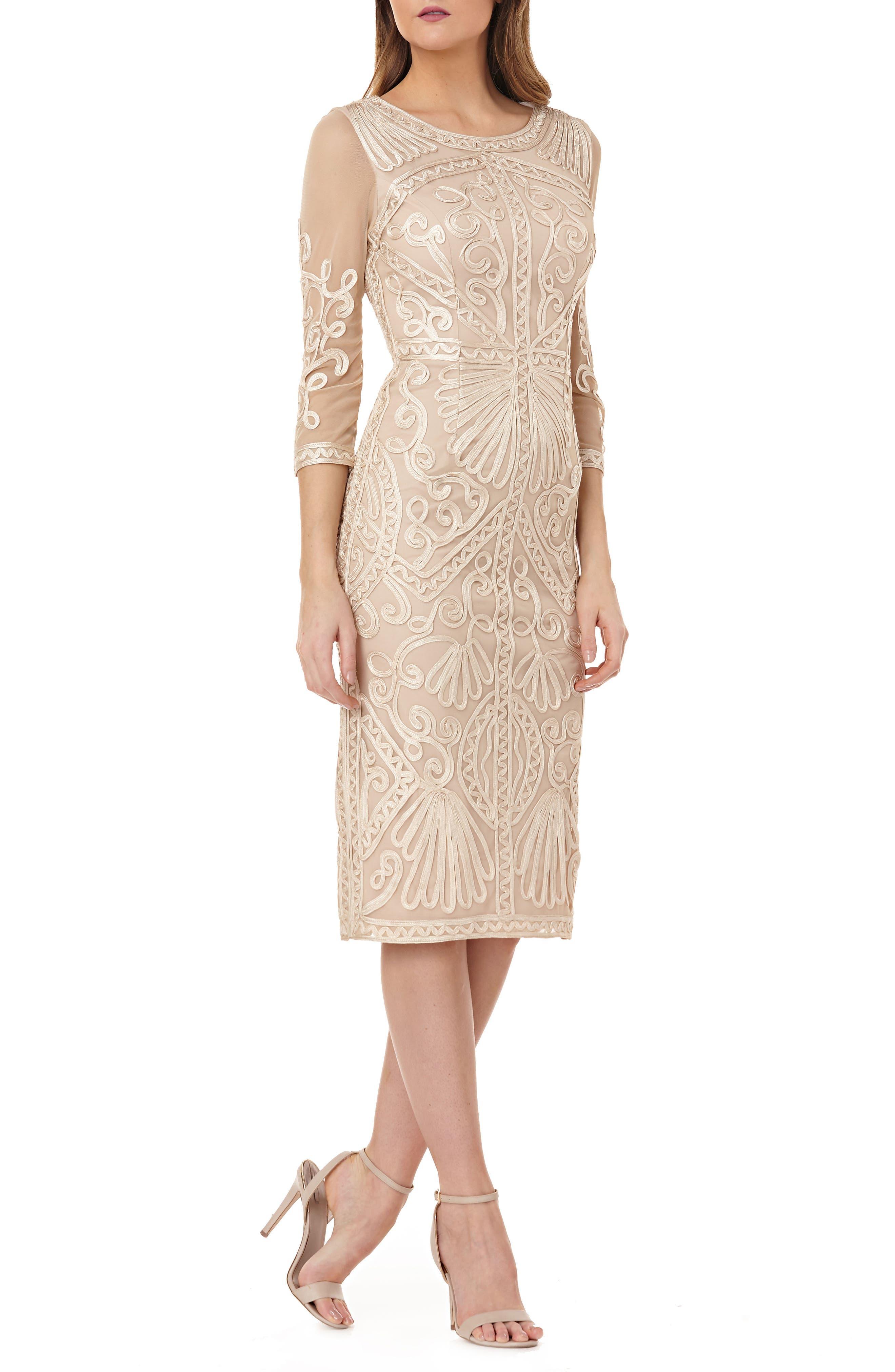 Sheer Sleeve Soutache Sheath Dress,                         Main,                         color, ROSE GOLD