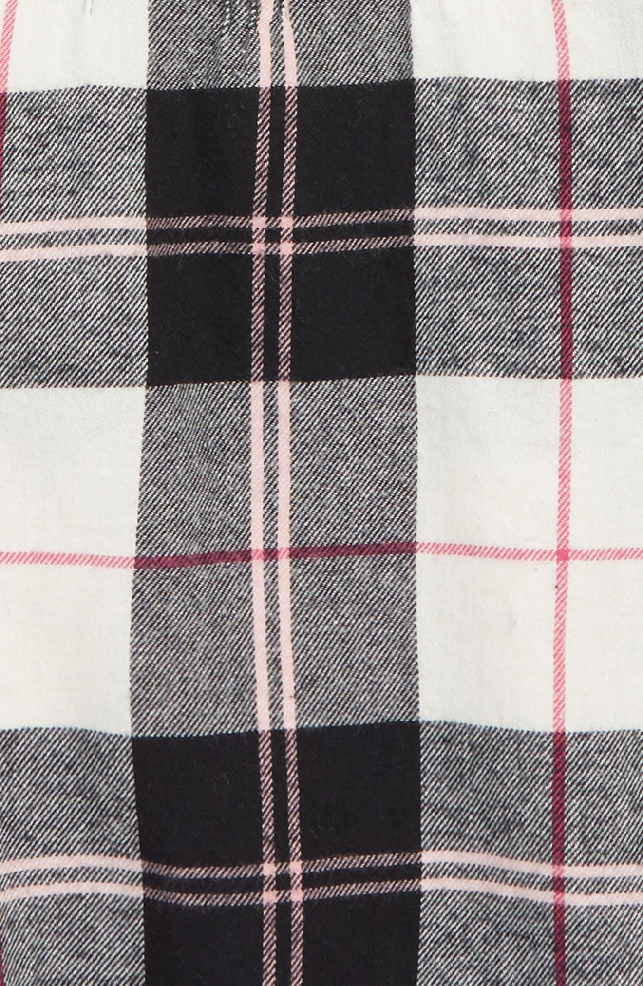 Flannel Dress,                             Alternate thumbnail 3, color,                             BLACK- IVORY WINDOW BUFFALO