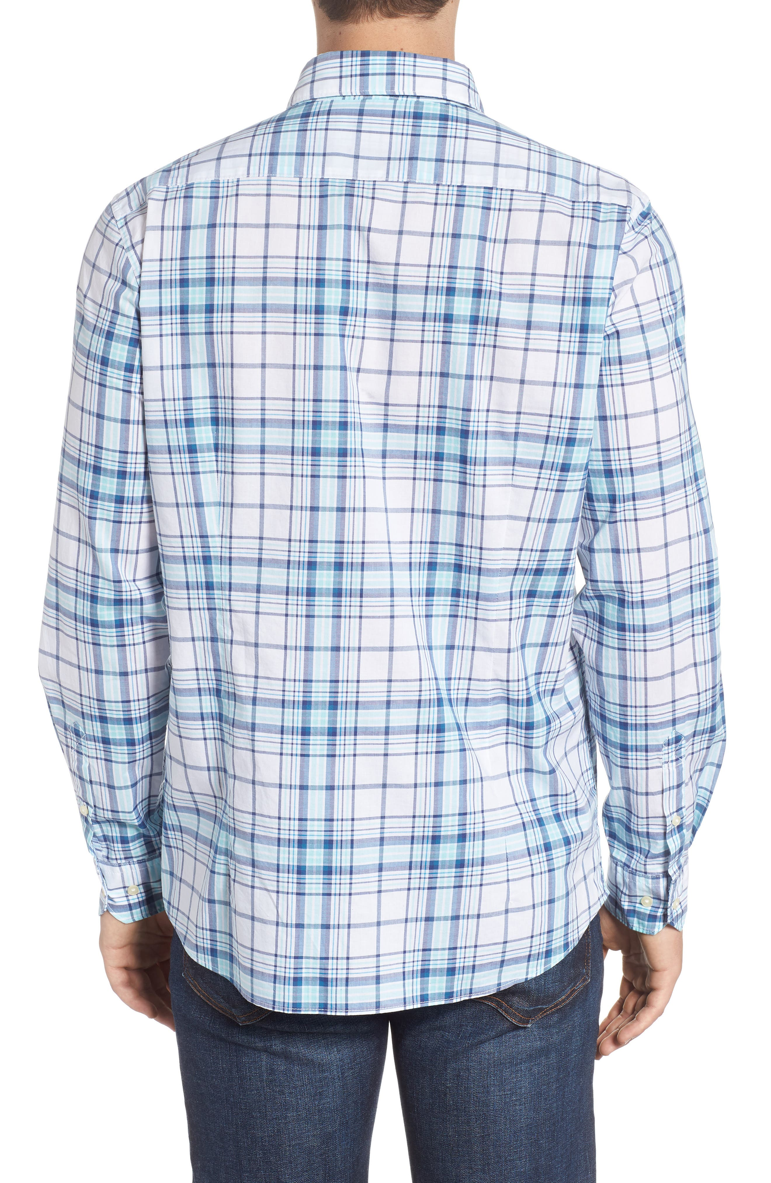 Christopher Tailored Fit Plaid Sport Shirt,                             Alternate thumbnail 3, color,                             440