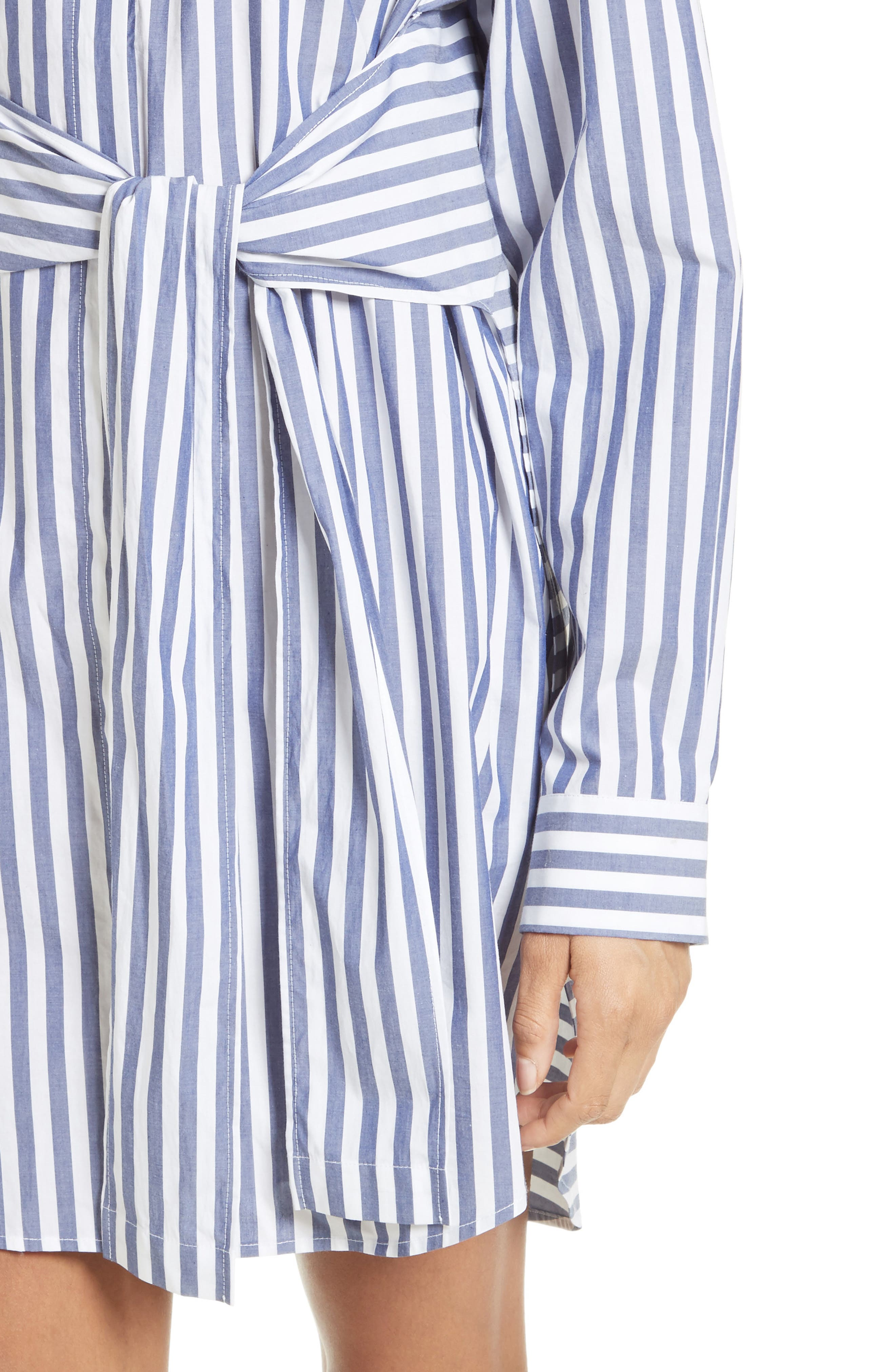 T by Alexander Wang Stripe Tie Front Shirtdress,                             Alternate thumbnail 4, color,                             150