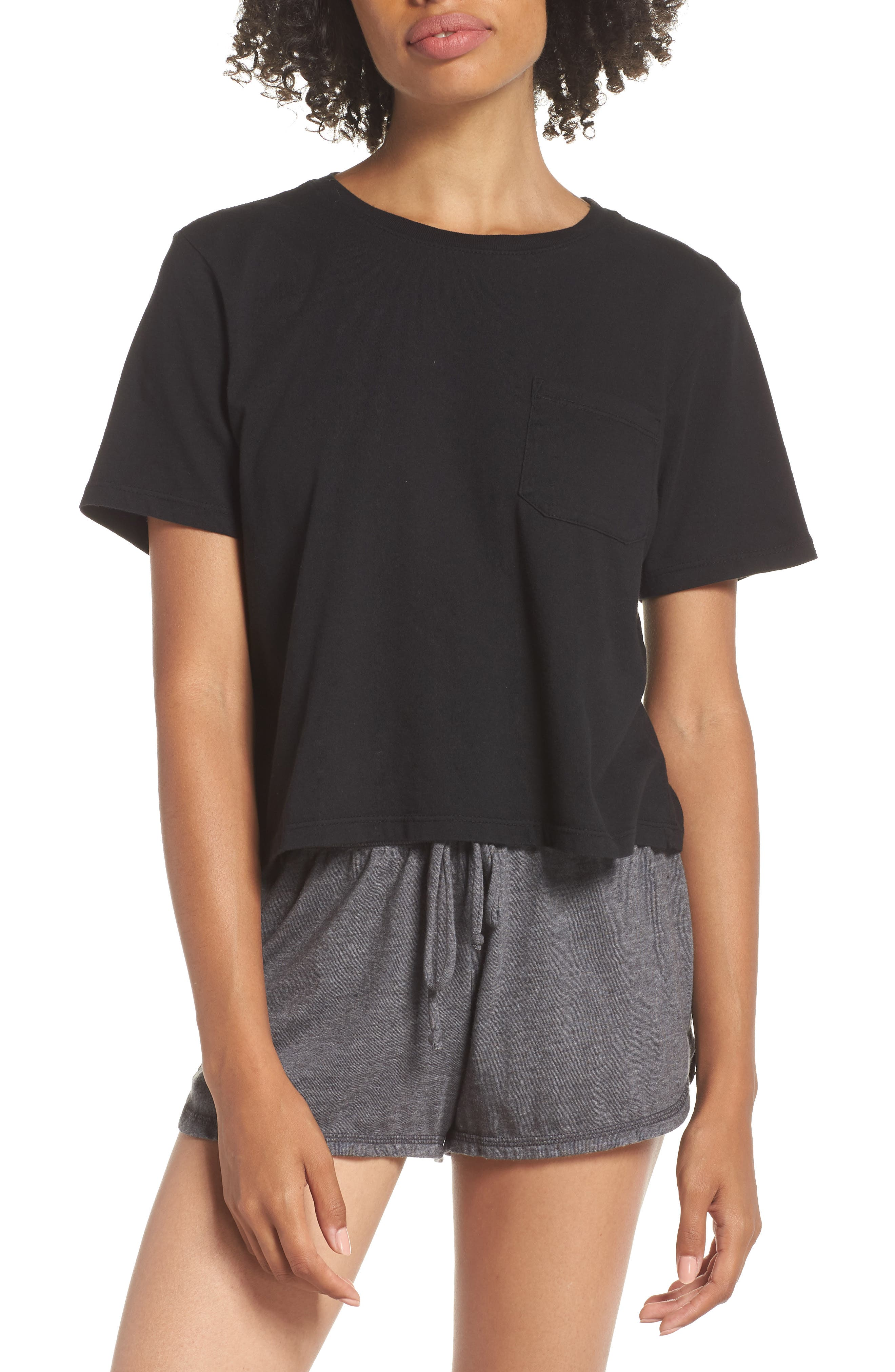 Boxy Crop Tee,                         Main,                         color, BLACK