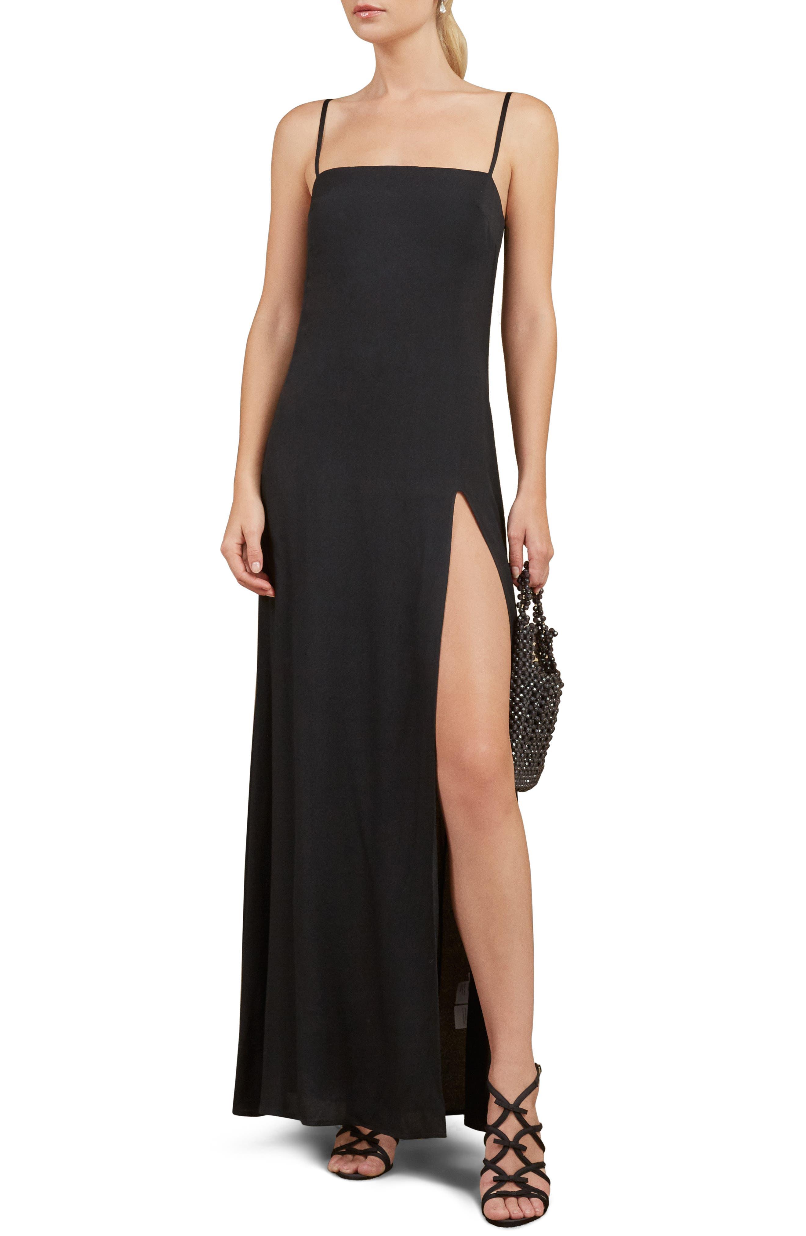 Keys Slit Maxi Dress,                             Main thumbnail 1, color,                             BLACK