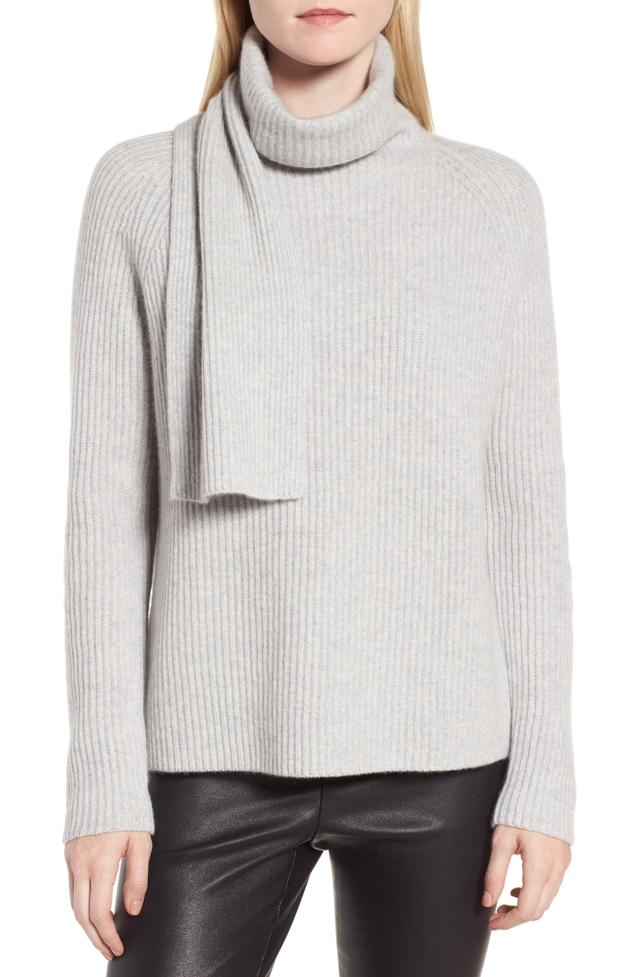 Scarf Neck Cashmere Sweater,                             Main thumbnail 1, color,                             050