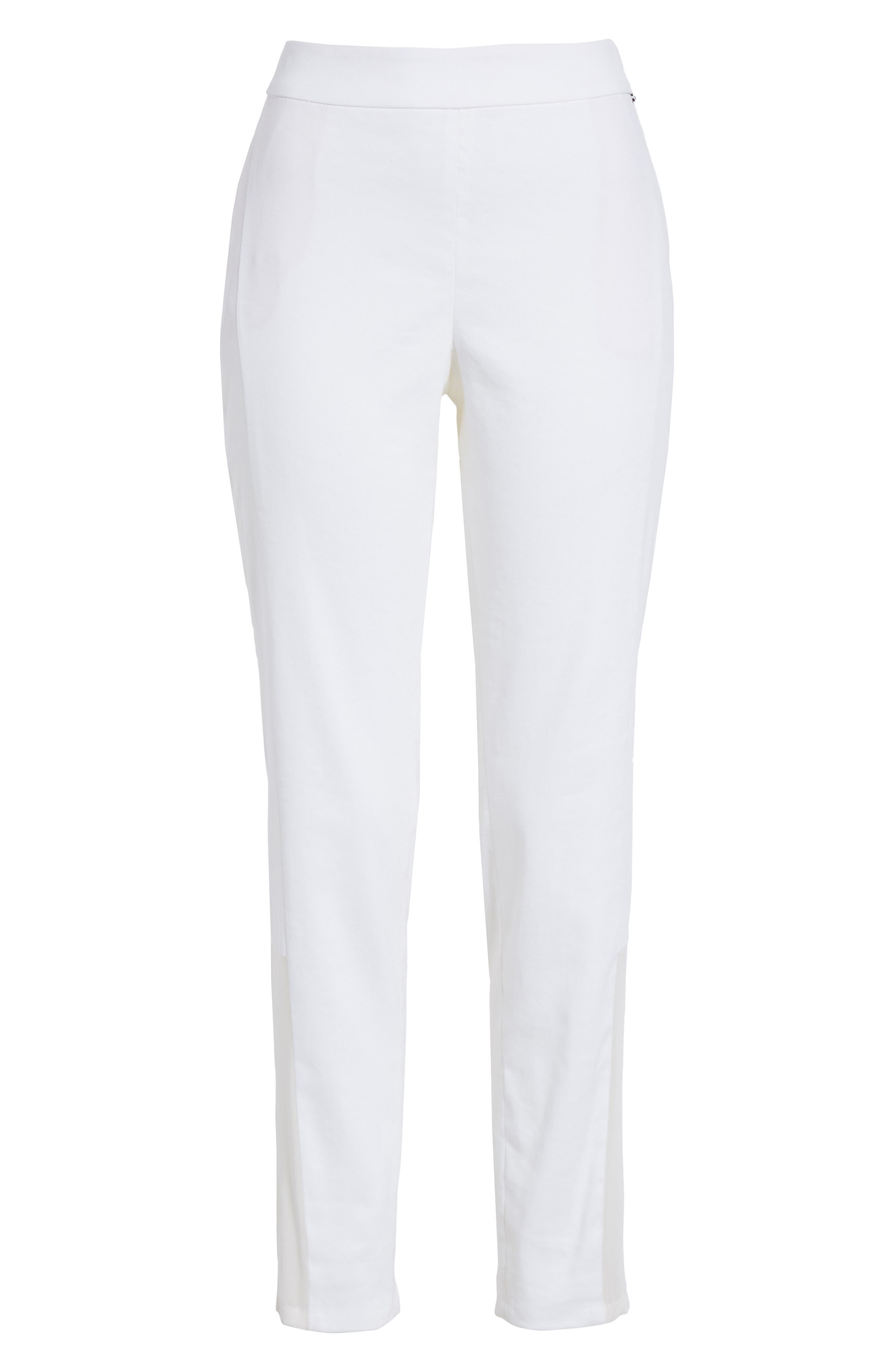 Sheer Inset Stretch Twill Pants,                             Alternate thumbnail 6, color,                             BIANCO