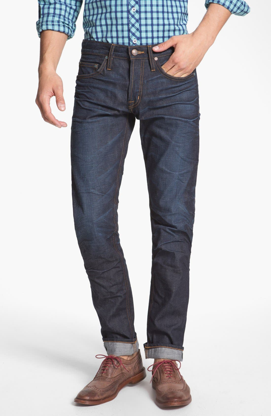 ASBURY PARK '1888 Skinny Fit' Raw Selvedge Jeans, Main, color, 401