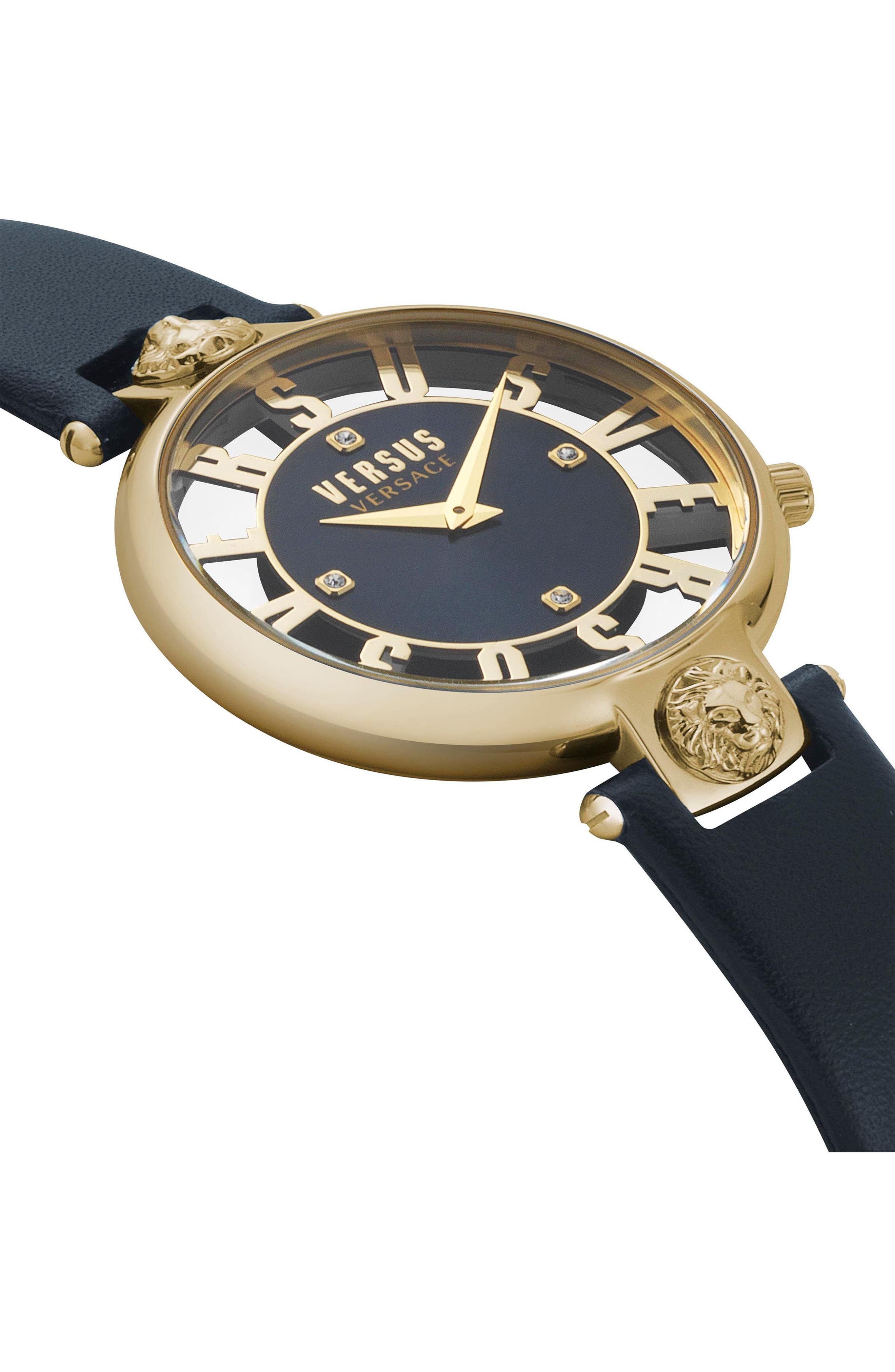Kristenhof Leather Strap Watch, 34mm,                             Alternate thumbnail 3, color,                             BLUE/ GOLD