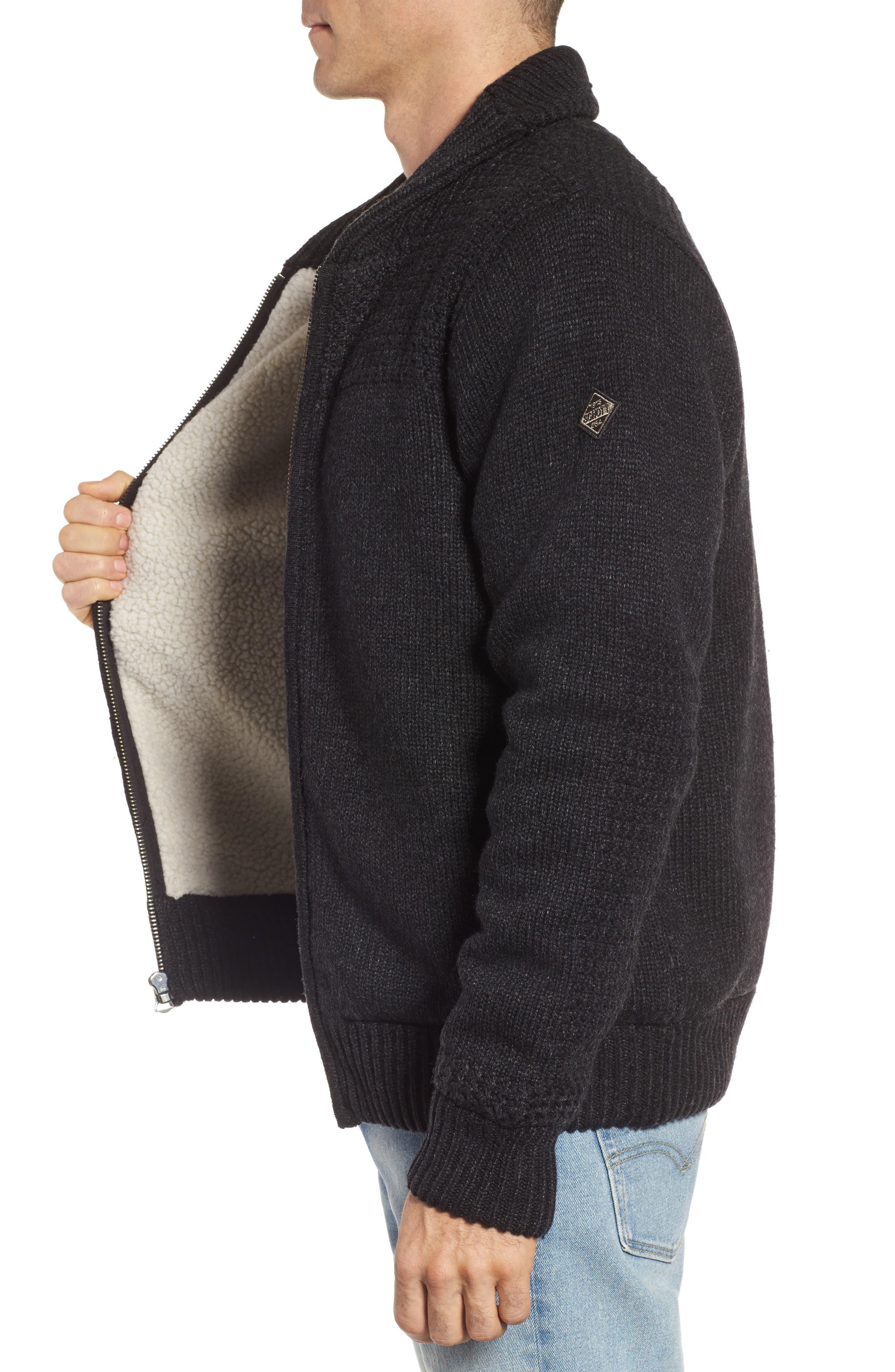 SCHOTT NYC,                             Lined Wool Zip Sweater,                             Alternate thumbnail 3, color,                             BLACK