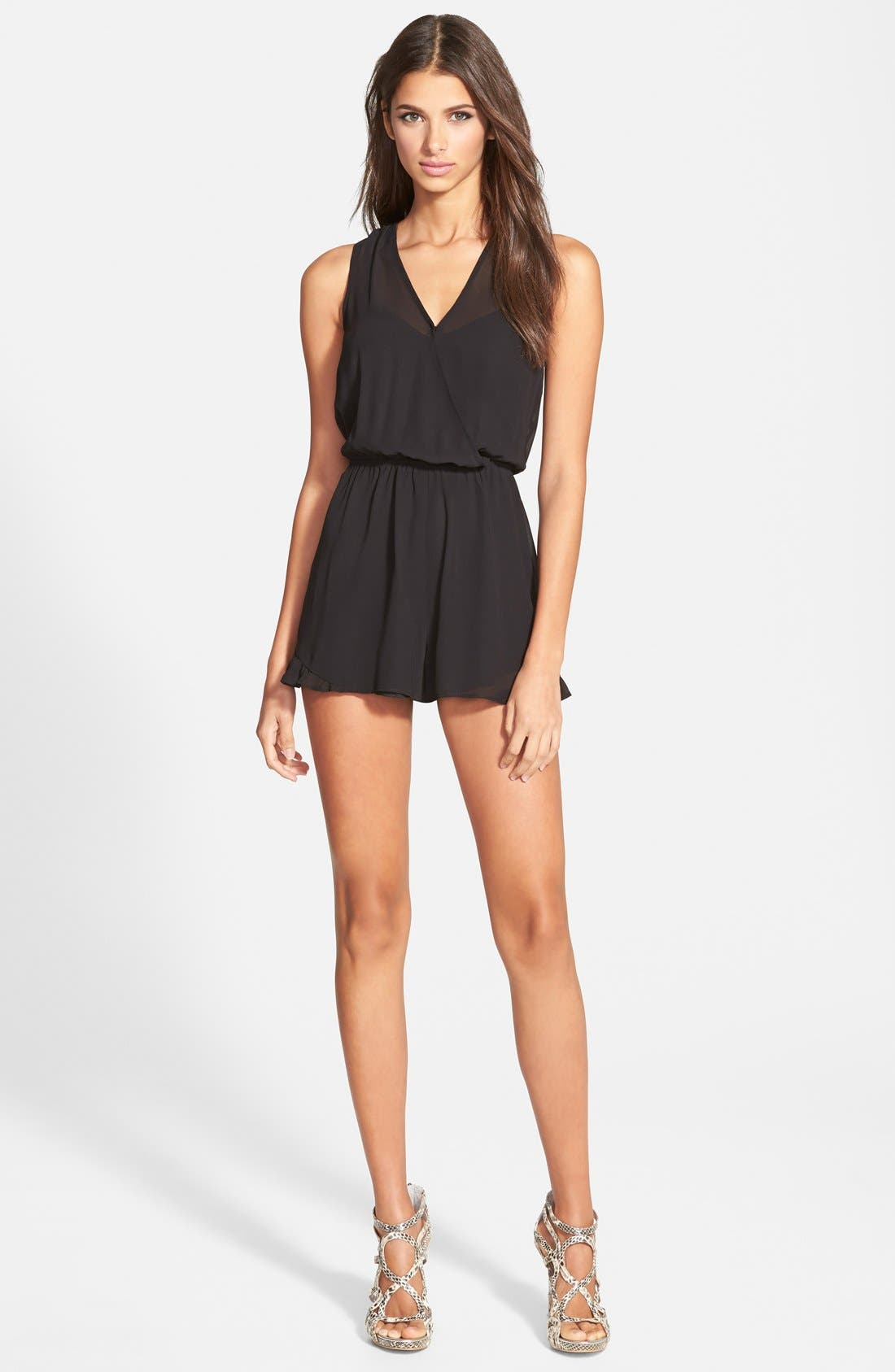 ASTR THE LABEL,                             ASTR Sleeveless Romper,                             Main thumbnail 1, color,                             001