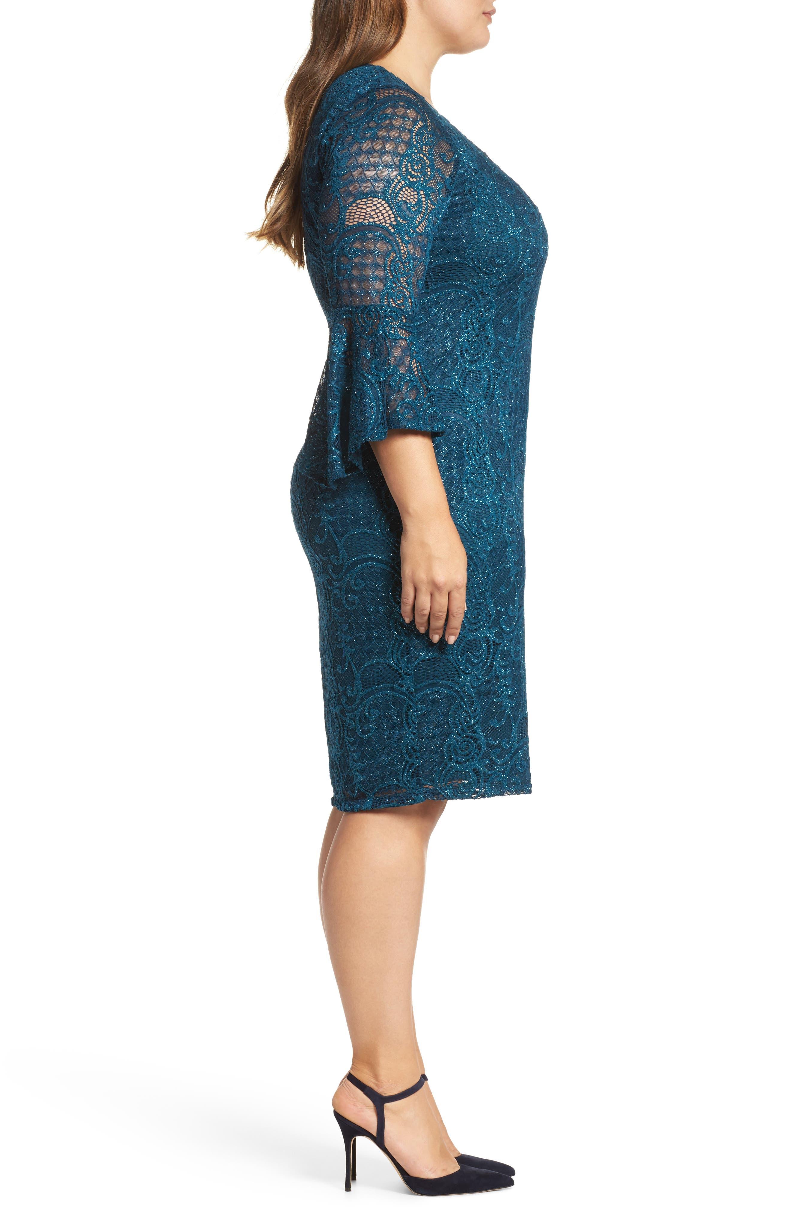 Bell Sleeve Glitter Lace Sheath Dress,                             Alternate thumbnail 3, color,                             412