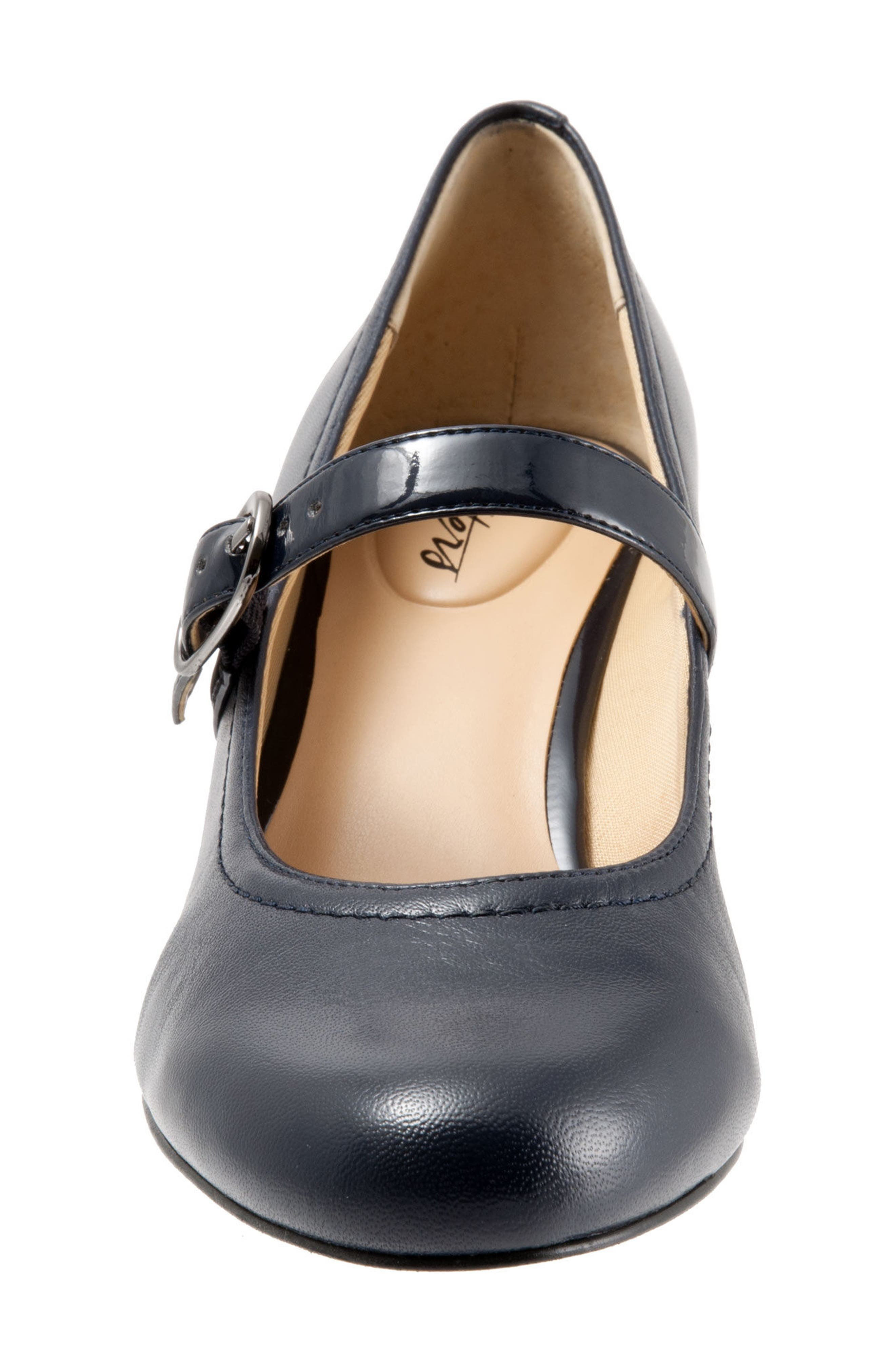 'Candice' Mary Jane Pump,                             Alternate thumbnail 4, color,                             NAVY LEATHER