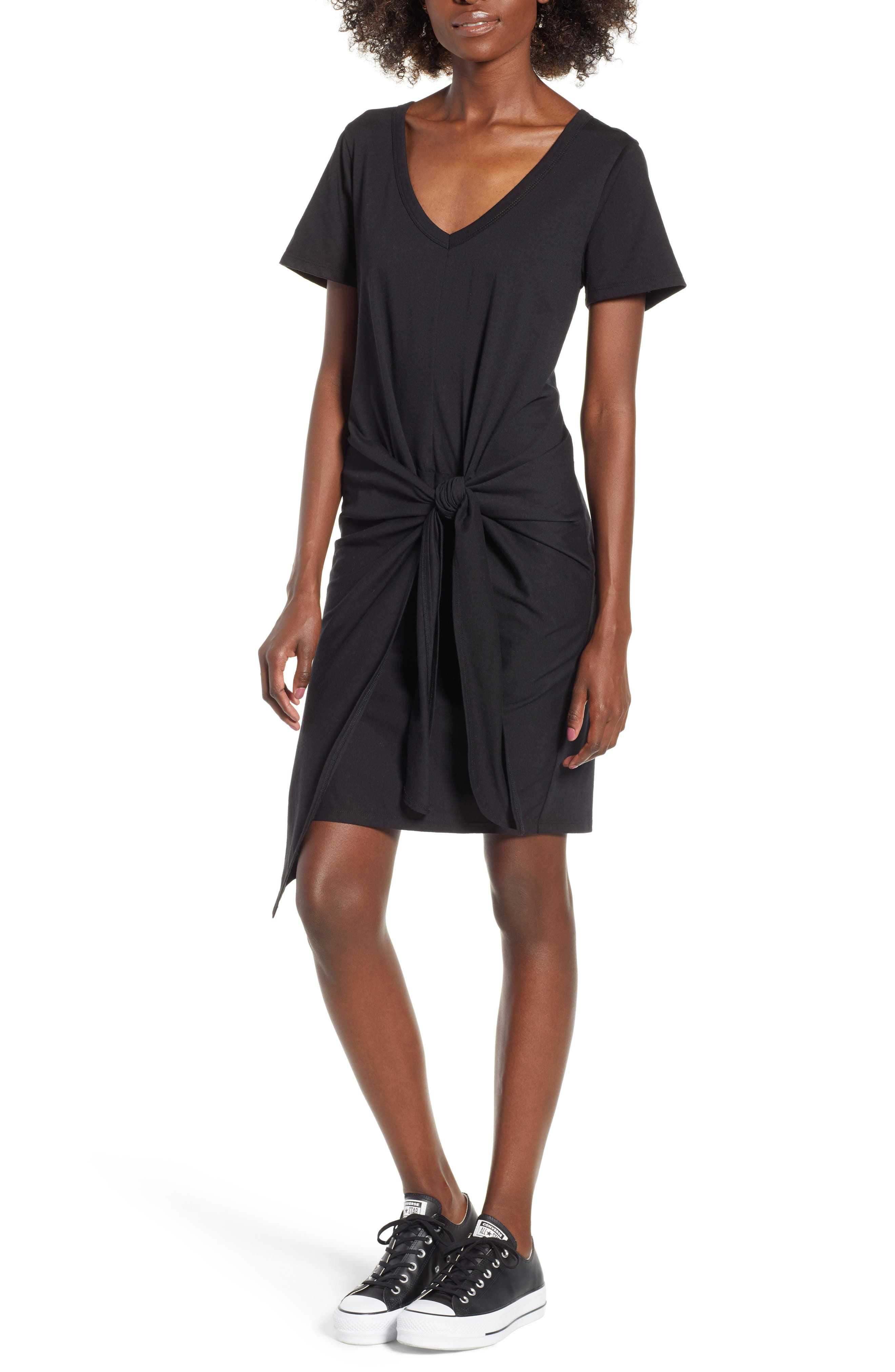 Tie Waist T-Shirt Dress,                         Main,                         color, BLACK