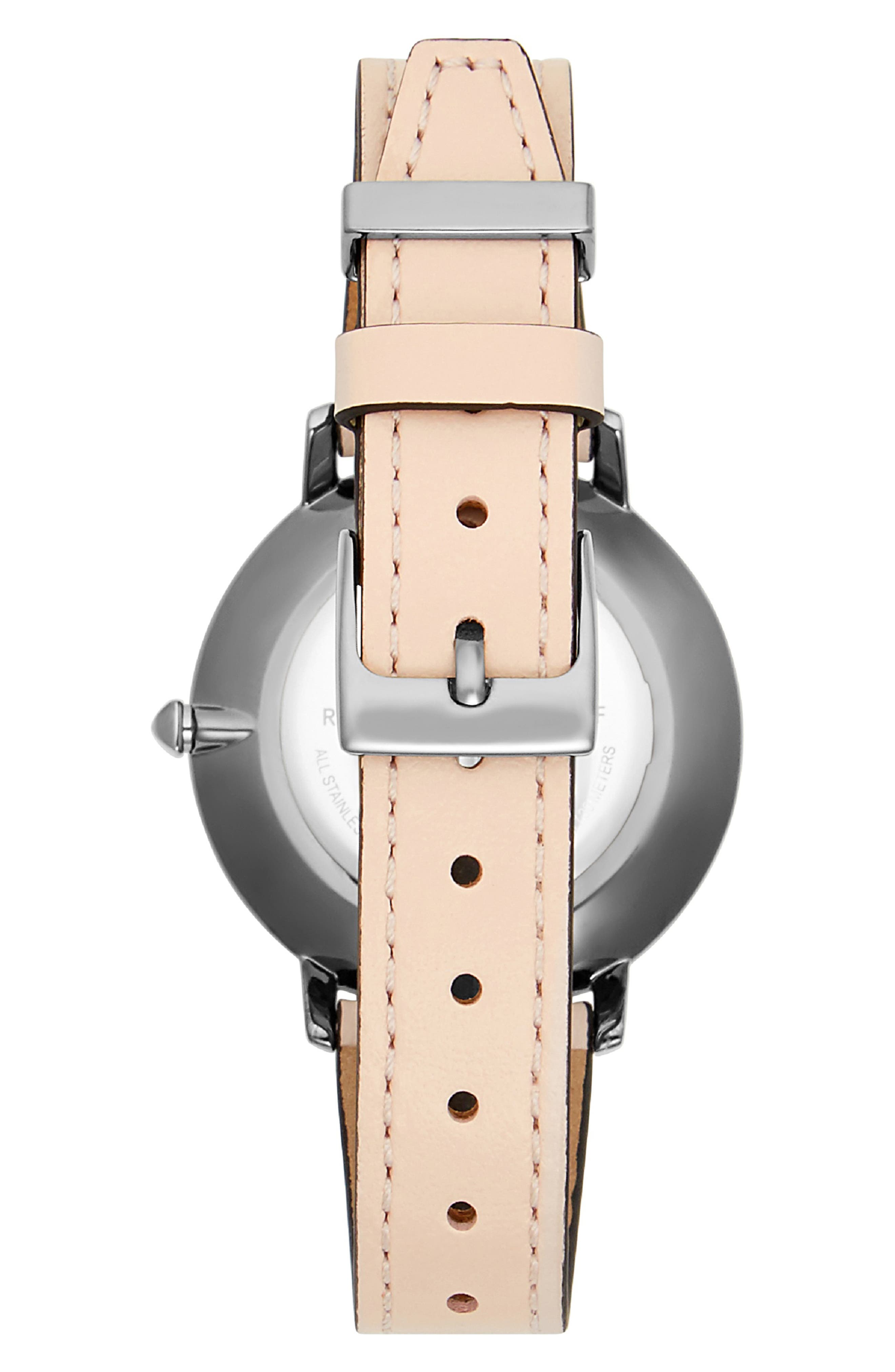 REBECCA MINKOFF,                             Major Leather Strap Watch, 35mm,                             Alternate thumbnail 2, color,                             BLUSH/ GREY