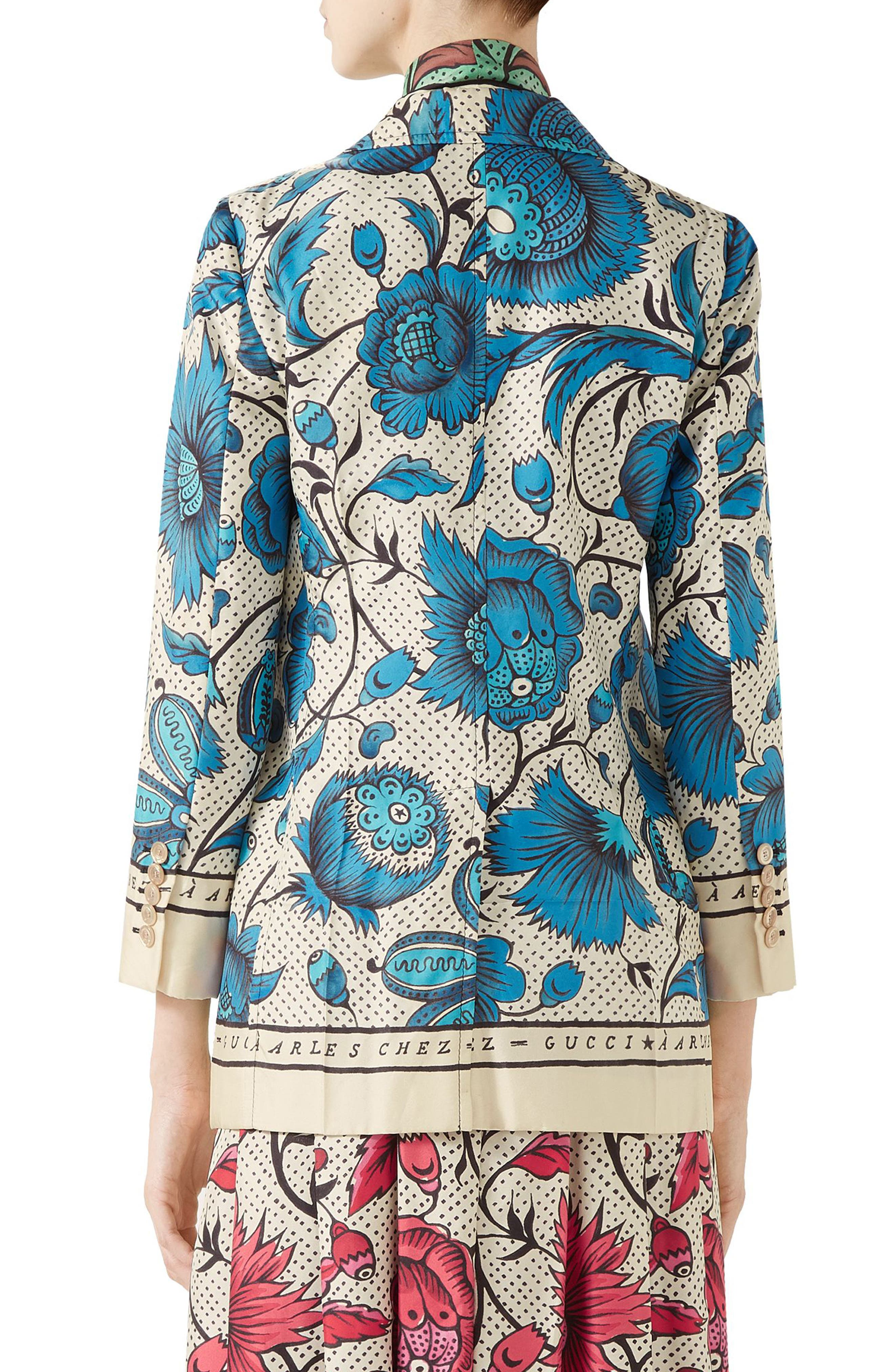 Watercolor Floral Print Silk Jacket,                             Alternate thumbnail 2, color,                             4821 BLUE/ IVORY PRT/ MC
