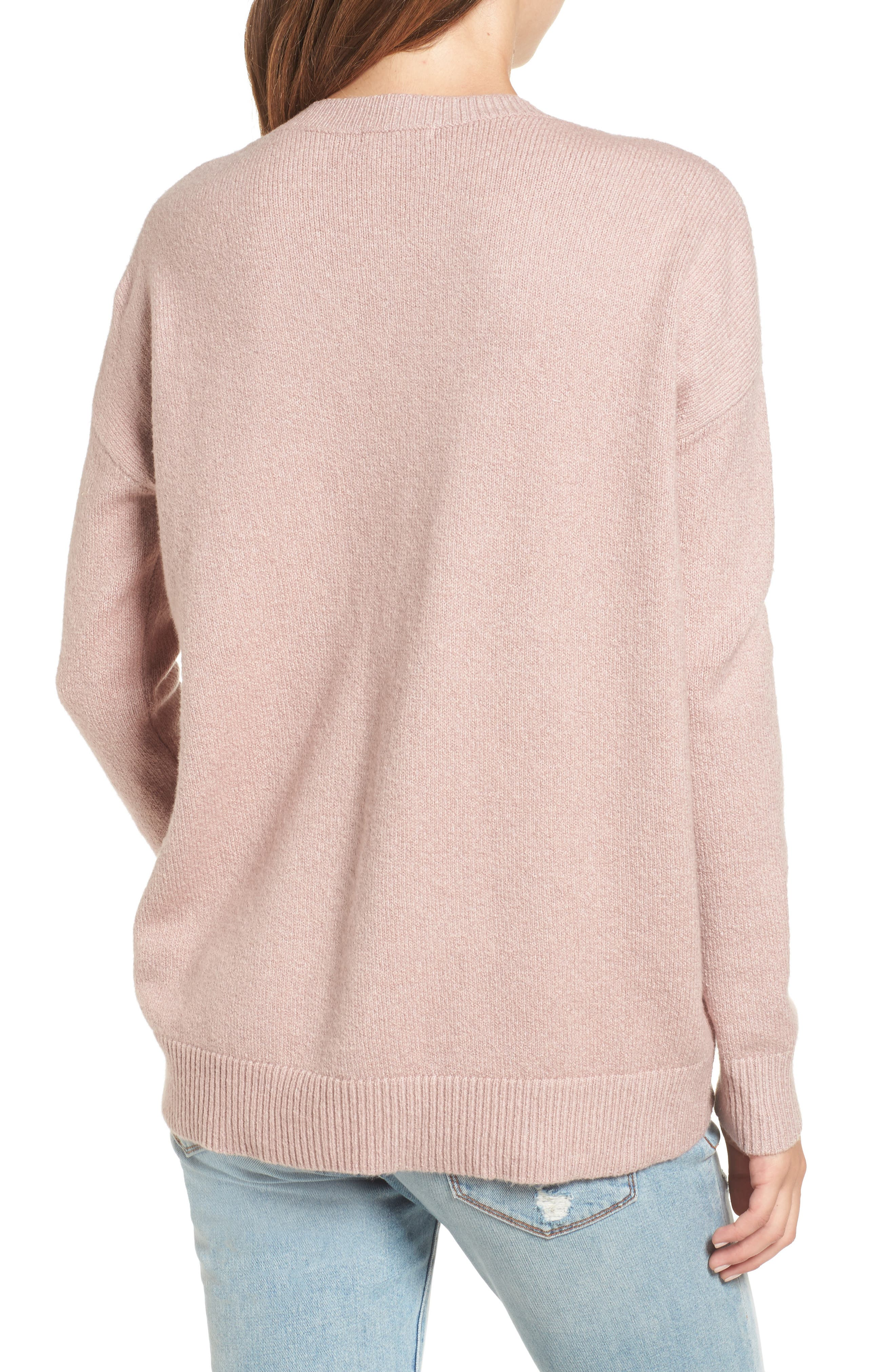 V-Neck High/Low Sweater,                             Alternate thumbnail 6, color,