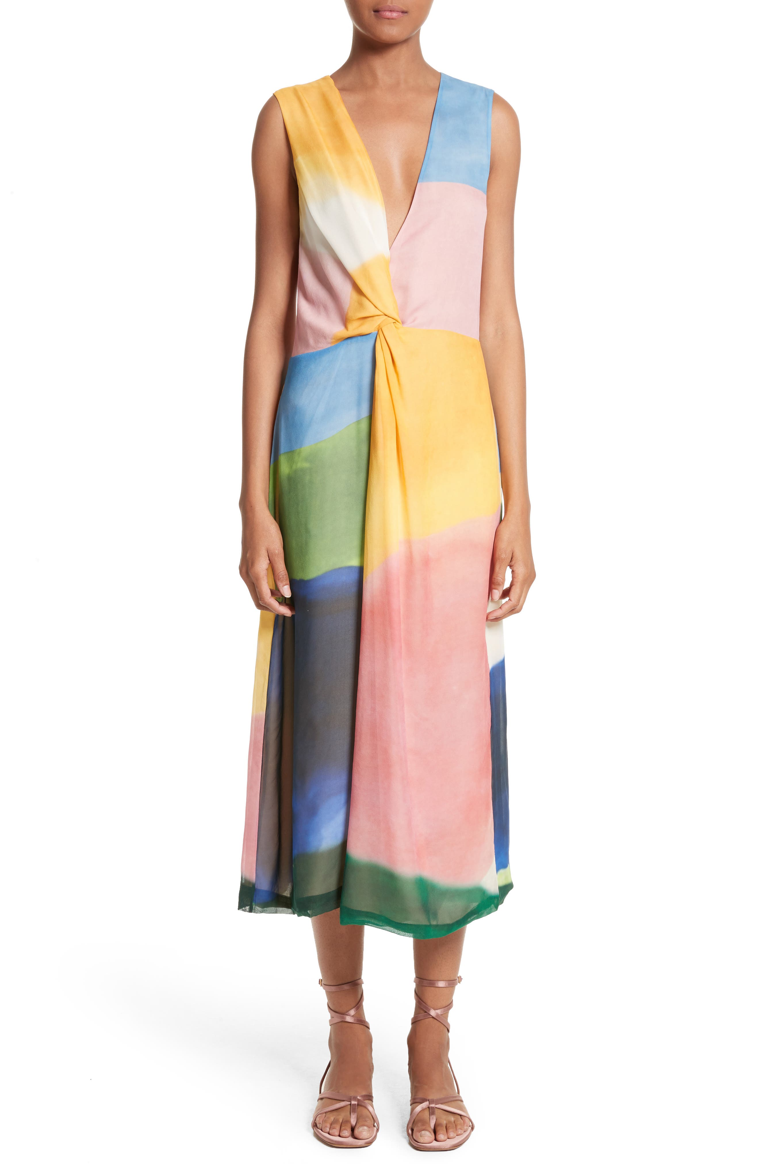Watercolor Twisted Silk Midi Dress,                             Alternate thumbnail 5, color,                             650