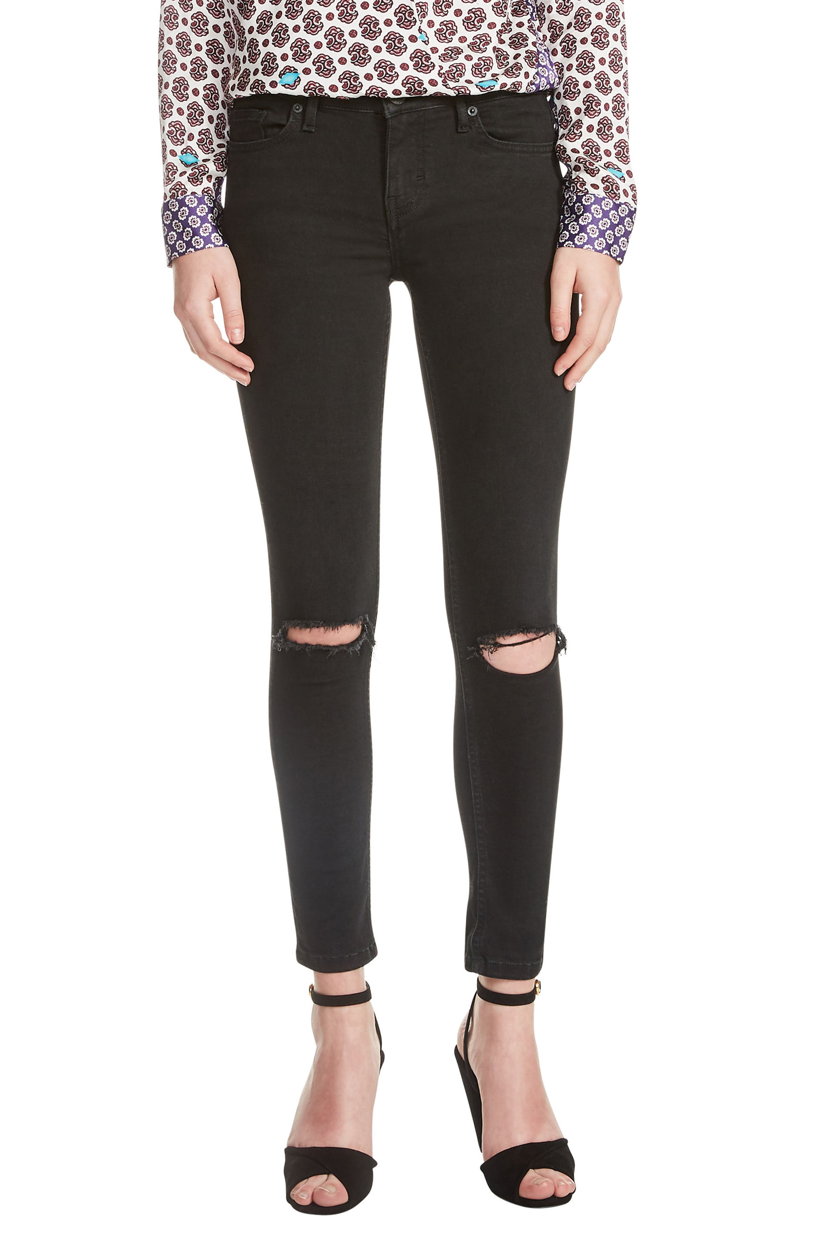 Priska Ripped Bee Embroidery Black Skinny Jeans,                         Main,                         color, 001