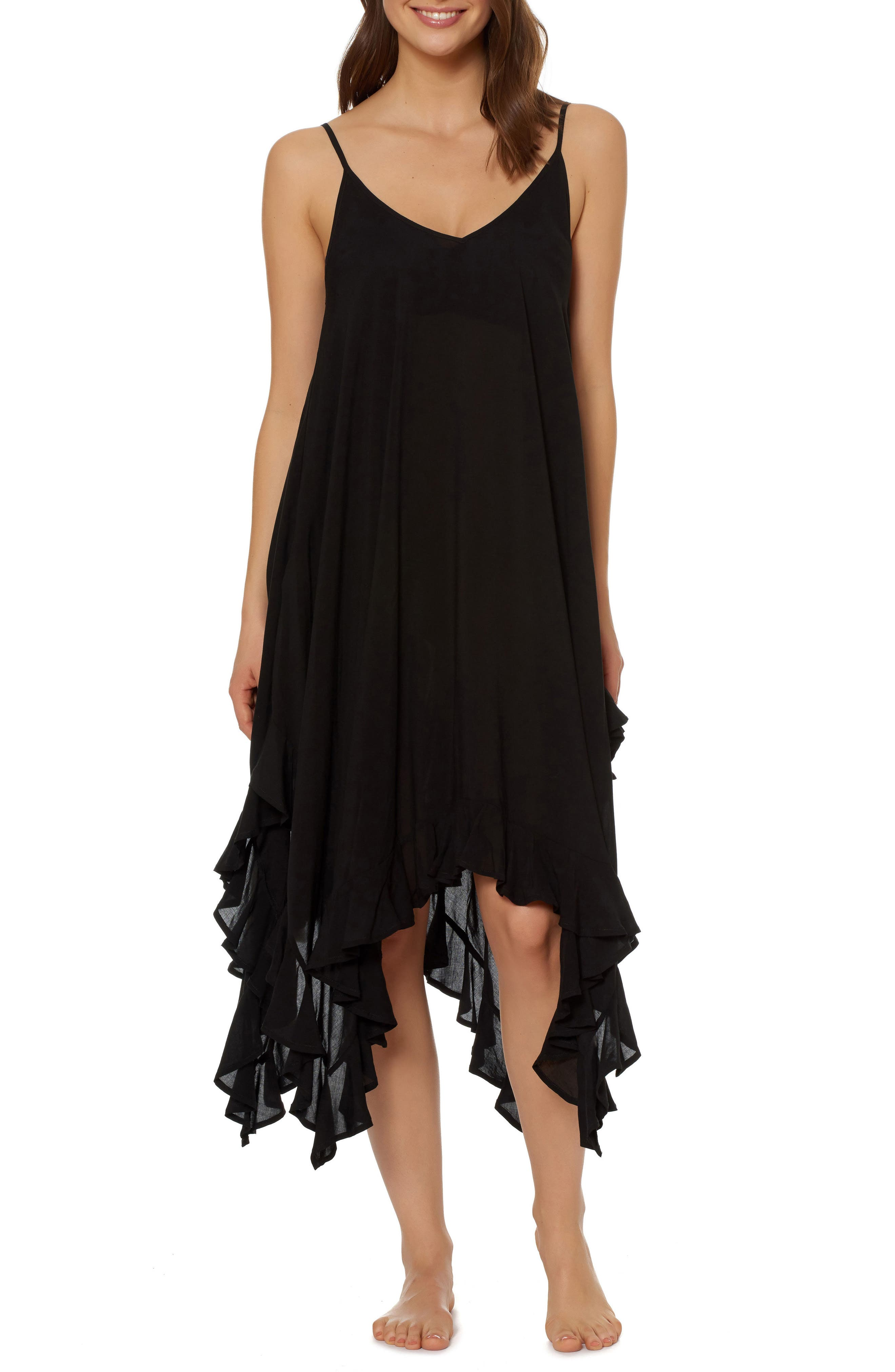 BLEU by Rod Beattie Handkerchief Hem Cover-Up Dress,                             Main thumbnail 1, color,                             001