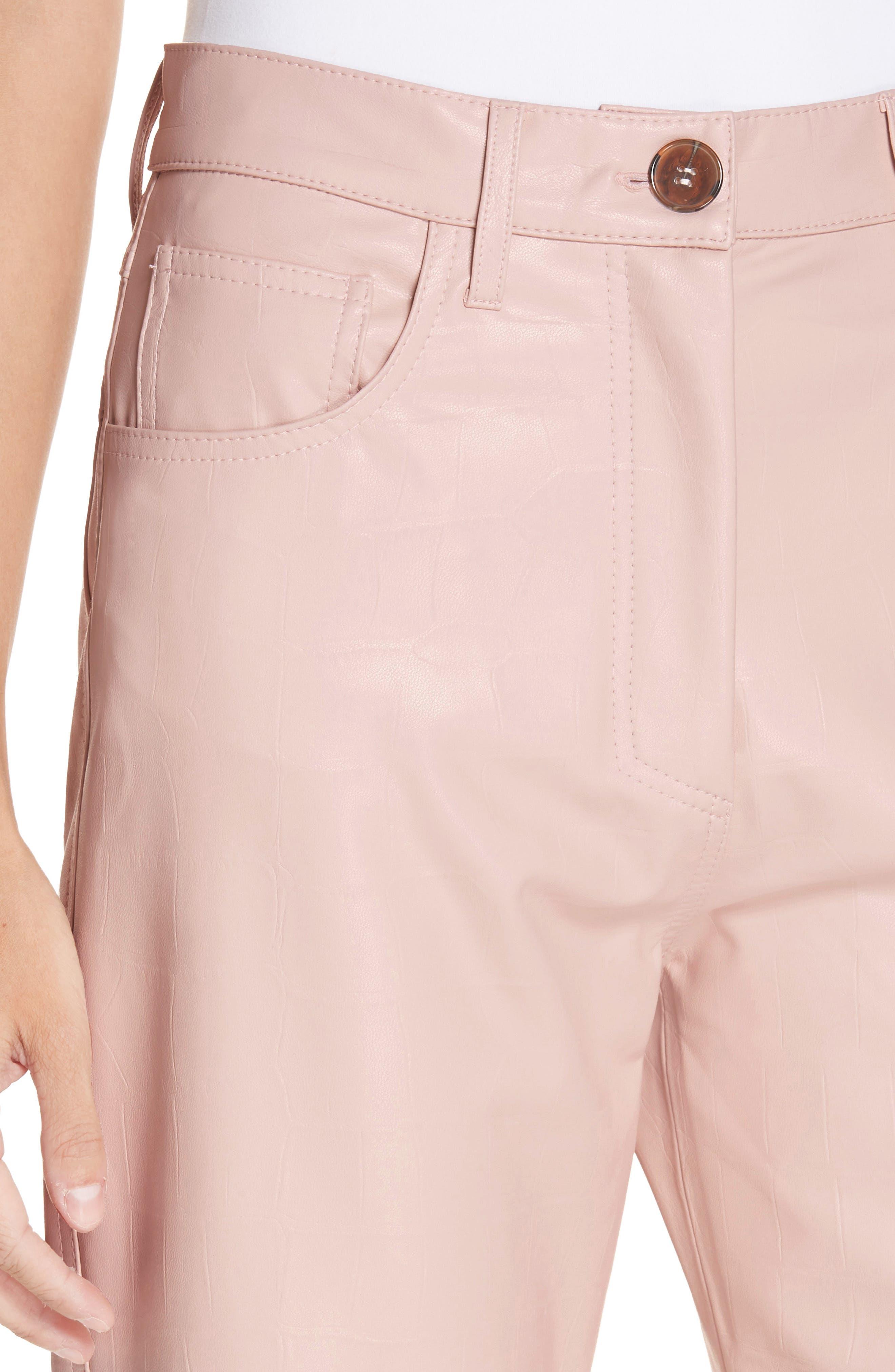 Ivy Faux Leather Straight Leg Pants,                             Alternate thumbnail 4, color,                             BLUSH