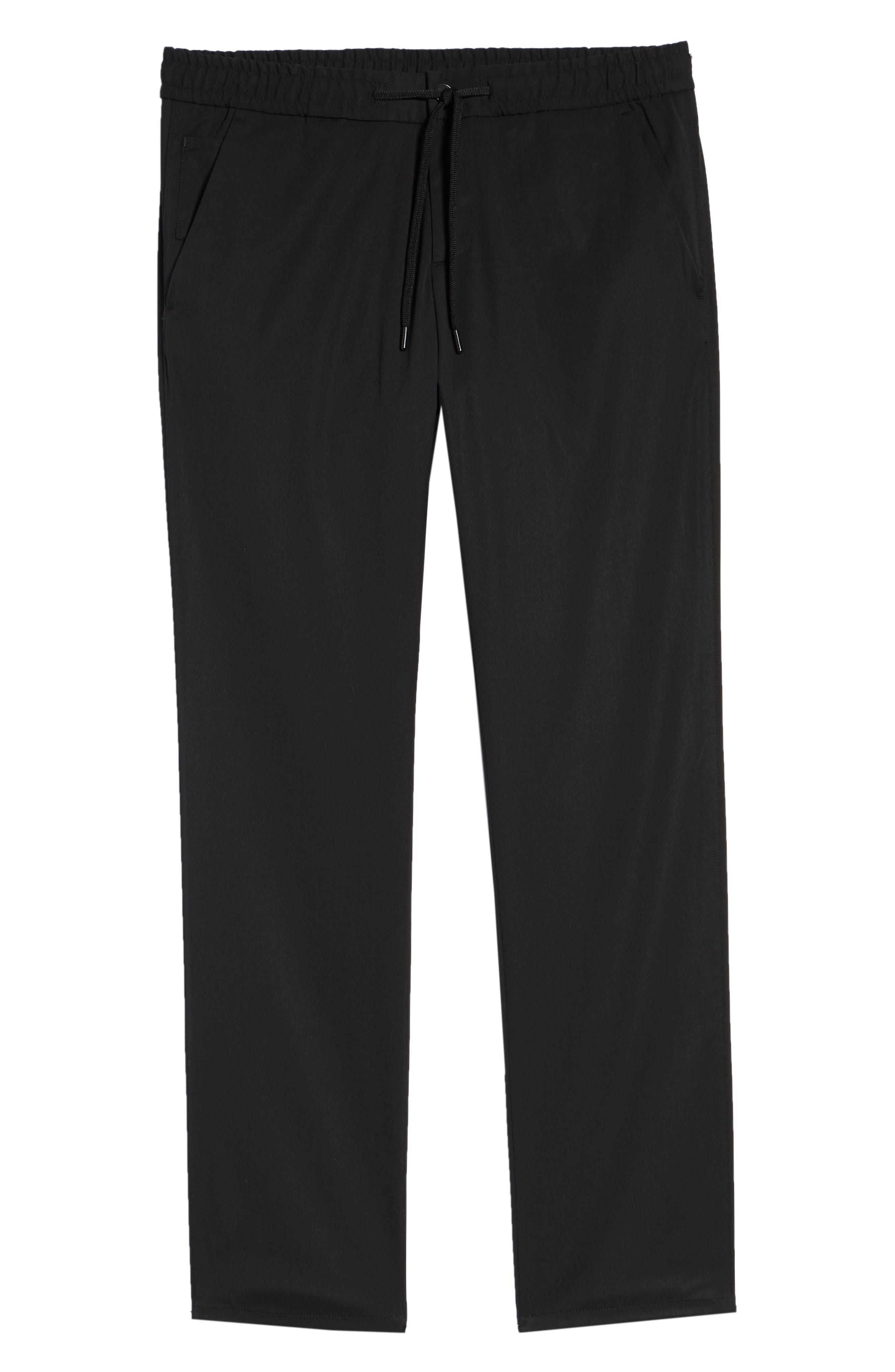Drawstring Flat Front Pants,                             Alternate thumbnail 6, color,                             BLACK