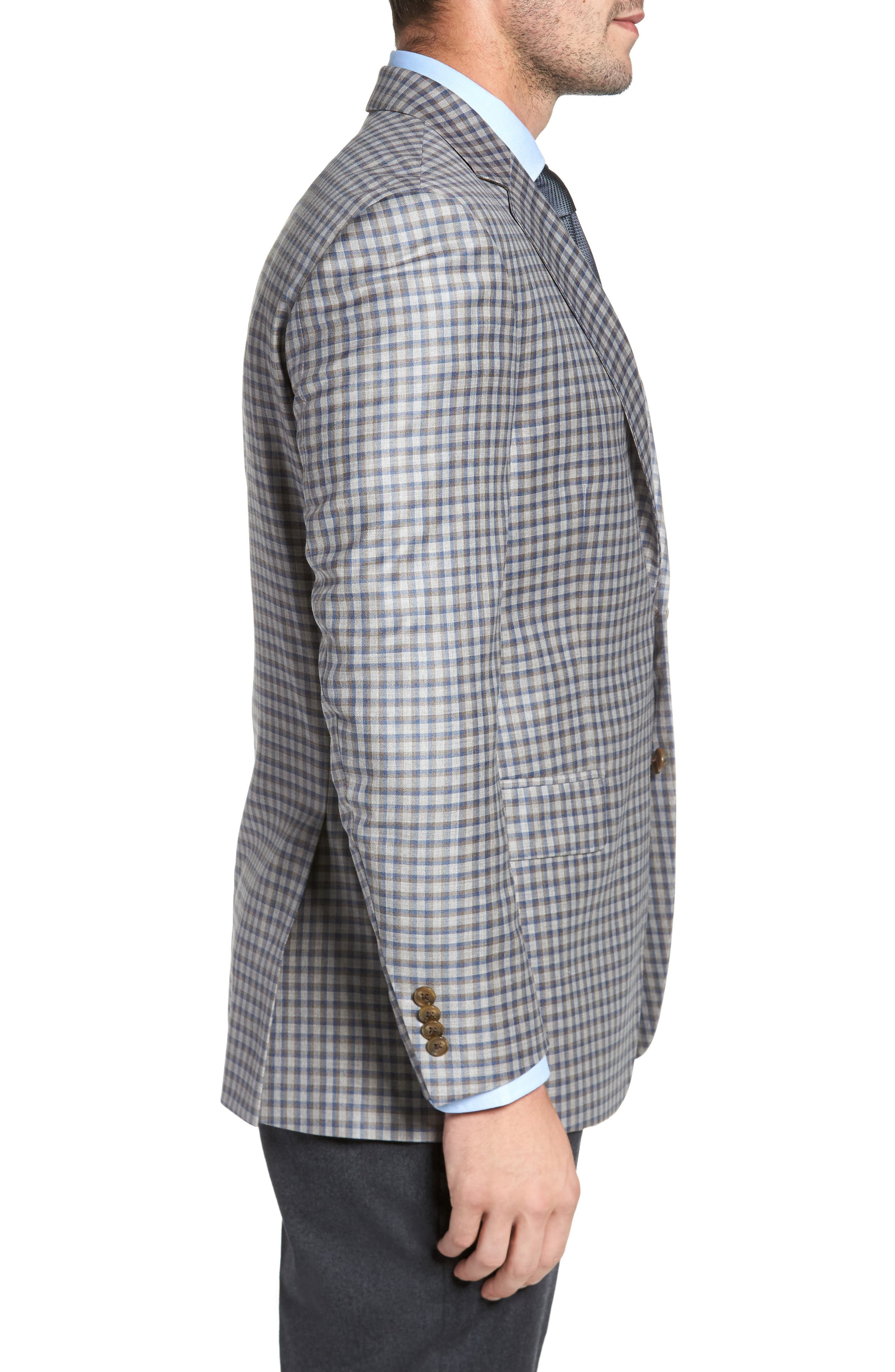 Classic Fit Check Wool Sport Coat,                             Alternate thumbnail 3, color,                             210
