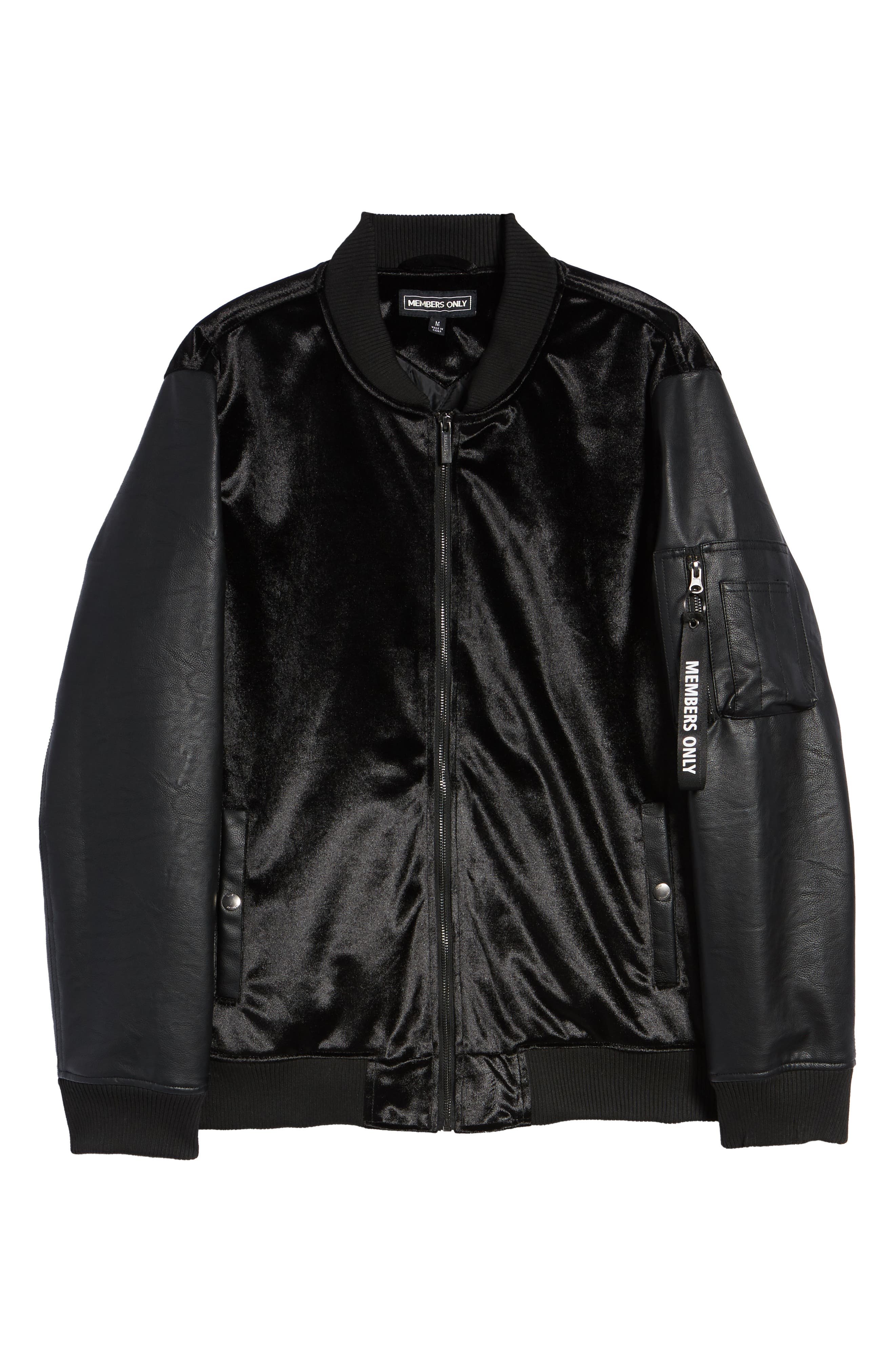 Velvet Bomber Jacket with Faux Leather Sleeves,                             Alternate thumbnail 5, color,                             BLACK