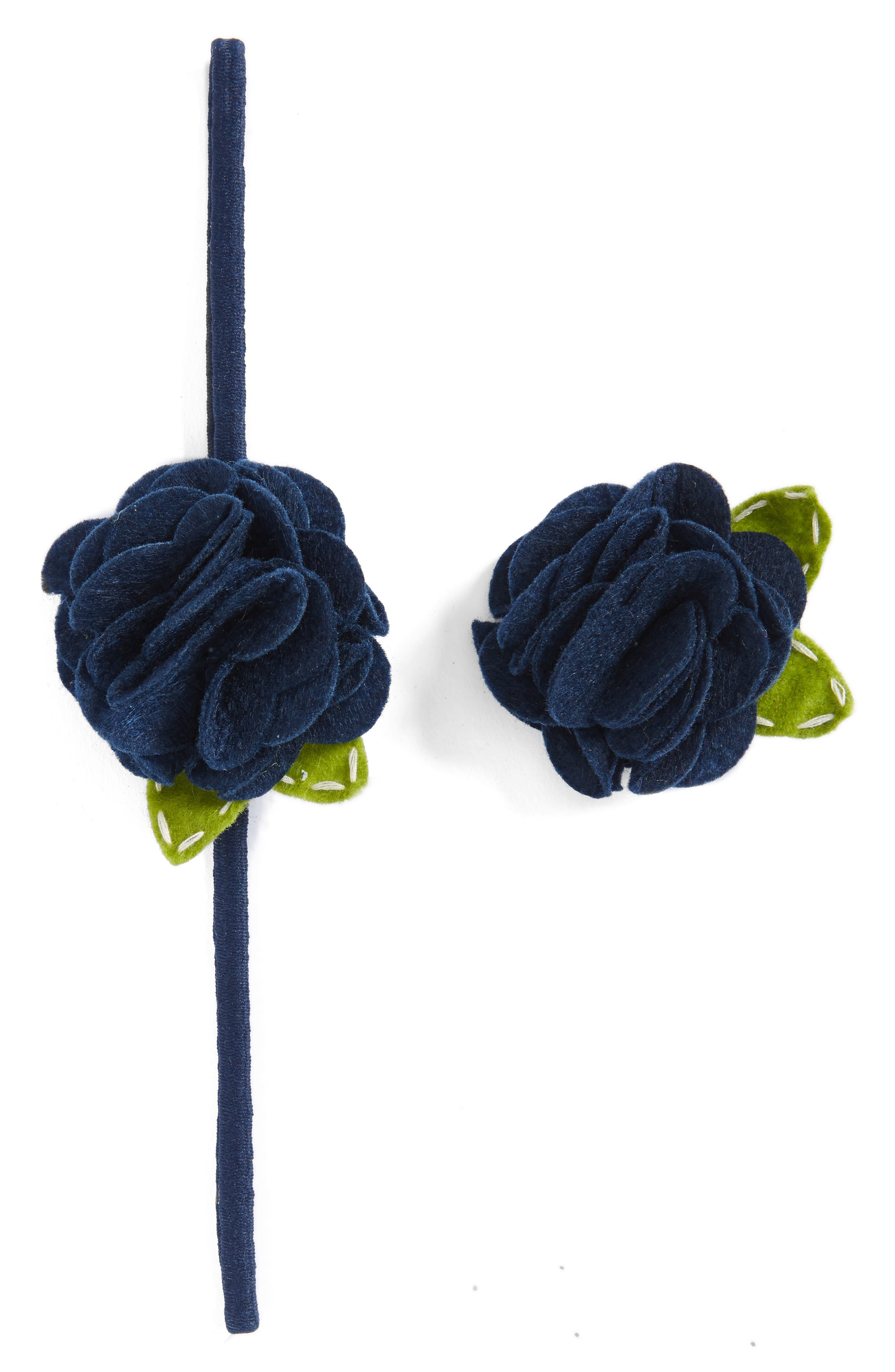 Rose Headband & Hair Clip Set,                             Main thumbnail 1, color,