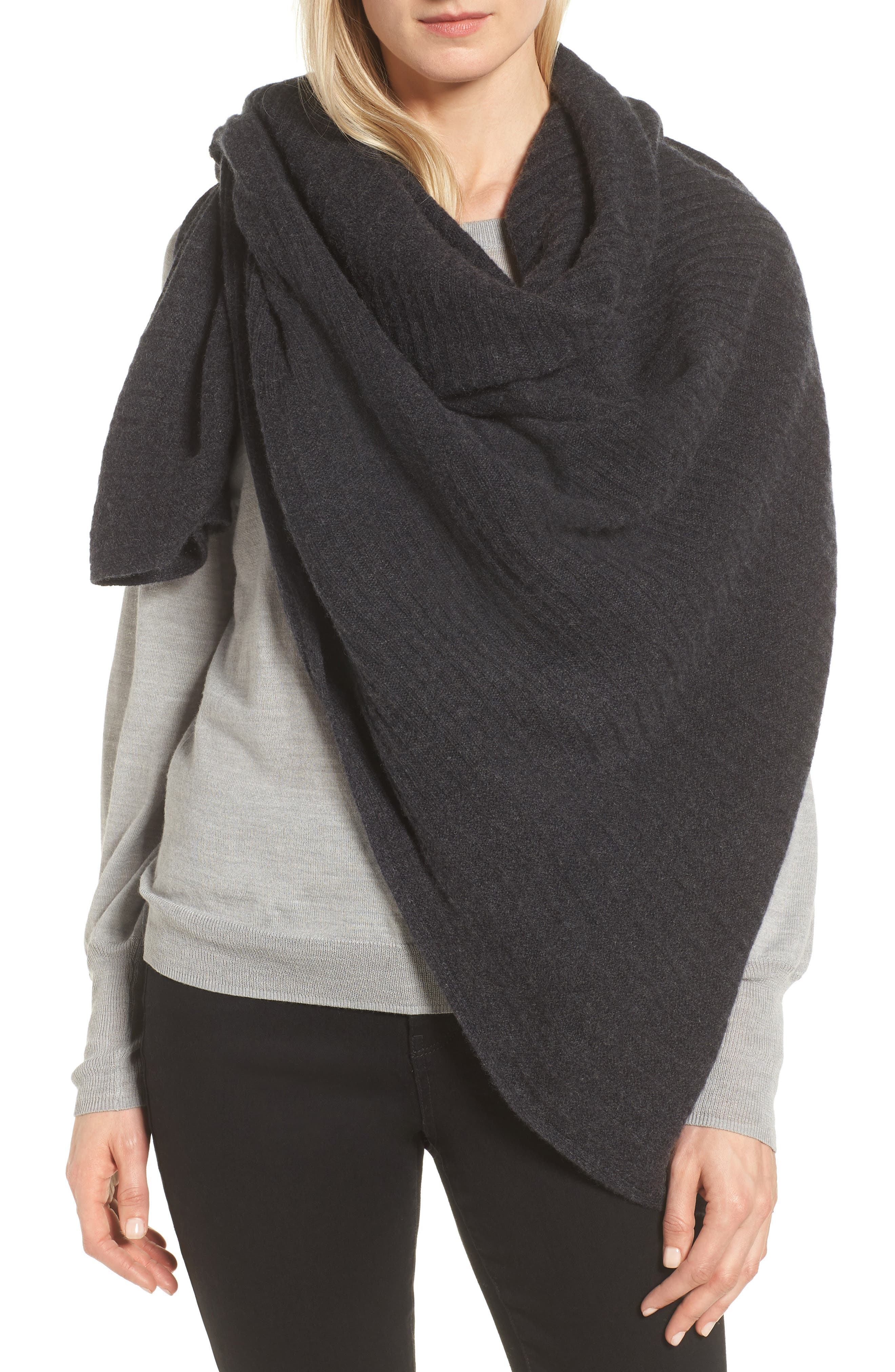Ribbed Cashmere Wrap,                             Alternate thumbnail 6, color,                             001