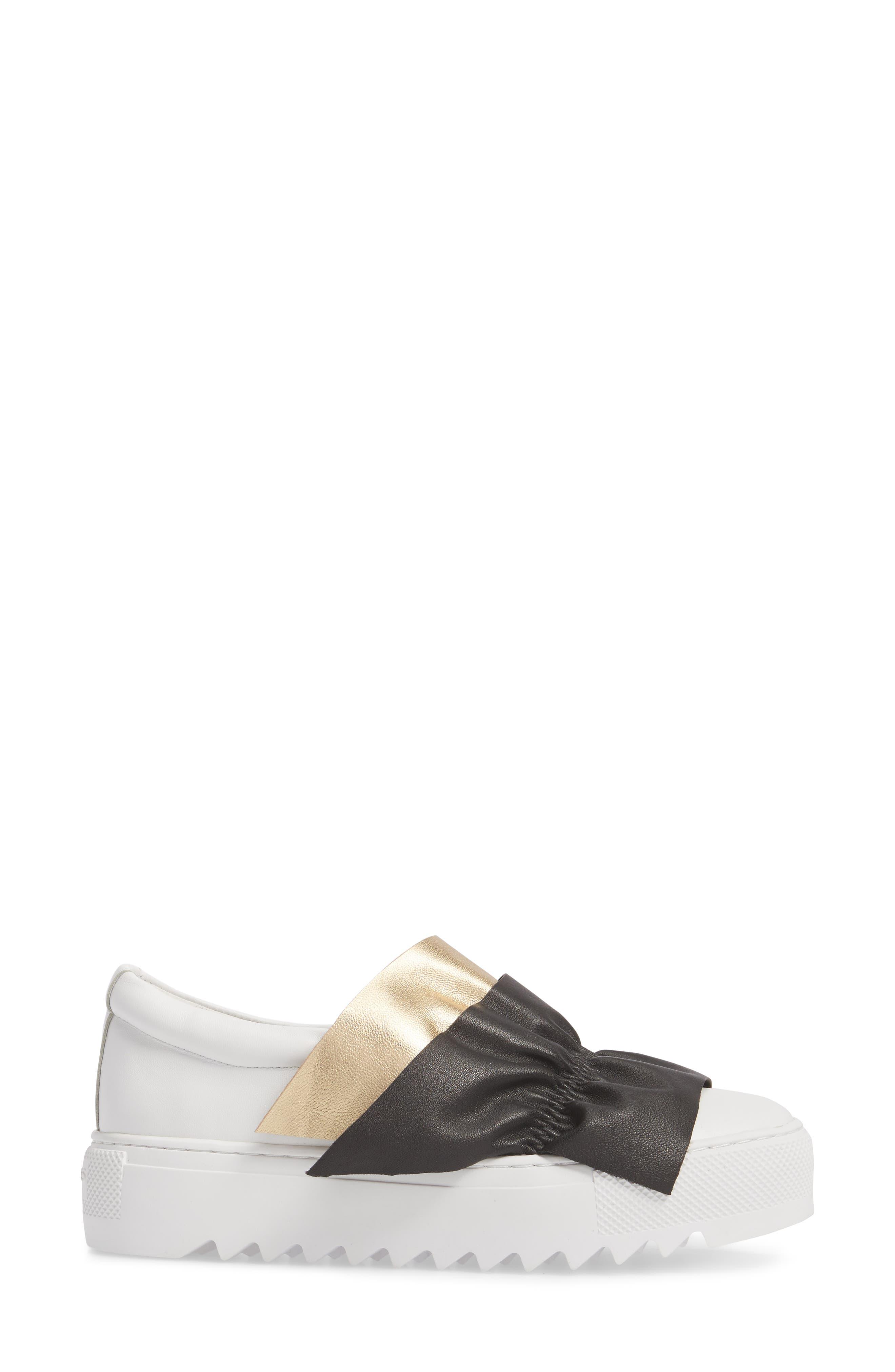 Sadie Ruffle Platform Sneaker,                             Alternate thumbnail 3, color,                             WHITE LEATHER