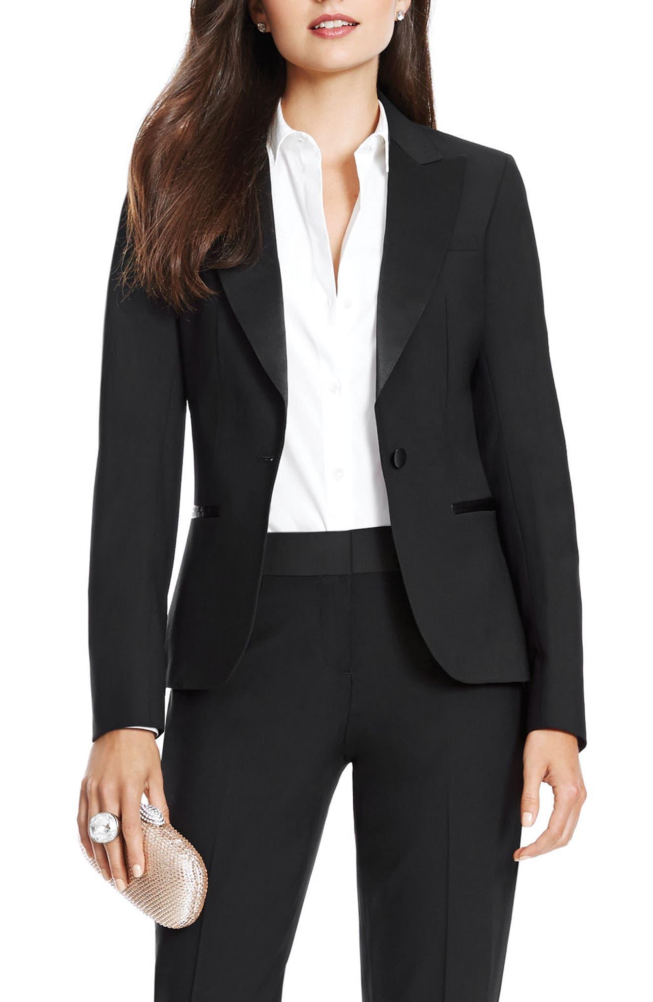 Stretch Wool Tuxedo Jacket,                             Main thumbnail 1, color,                             BLACK