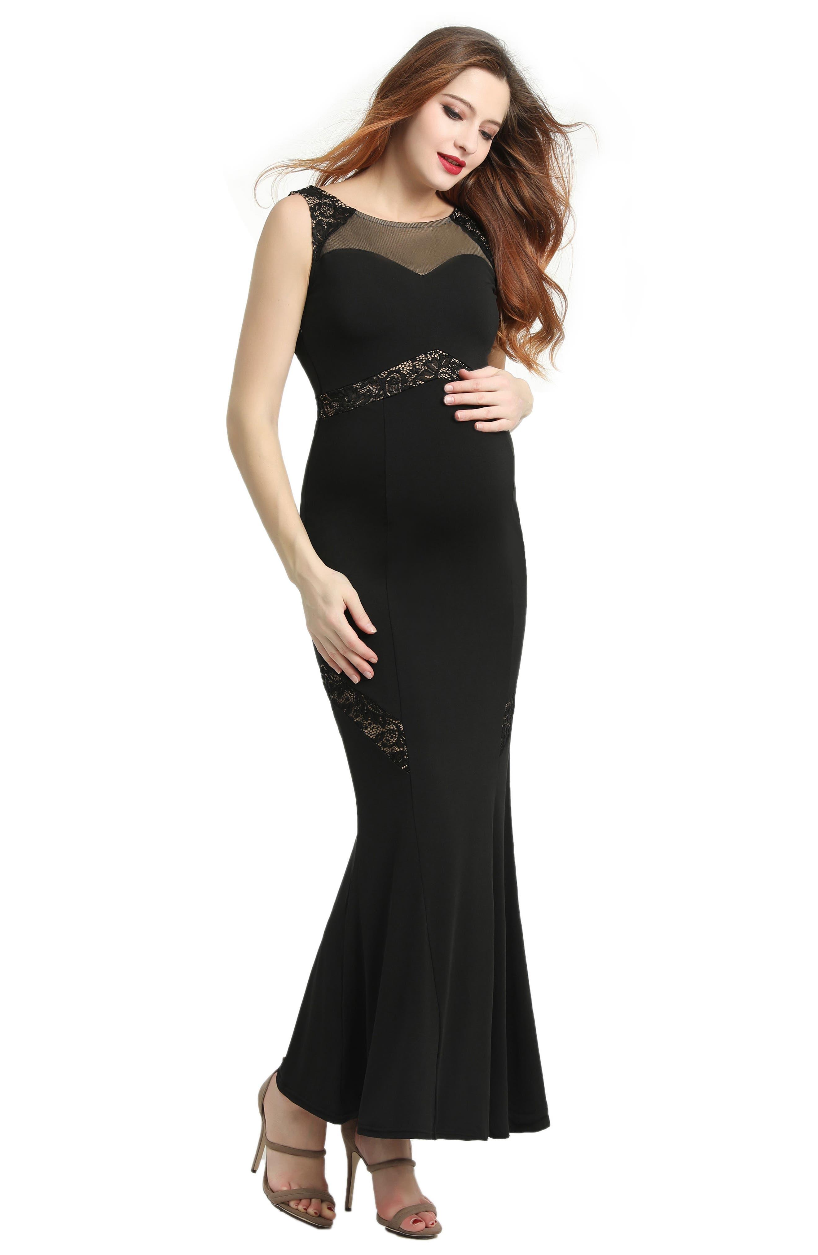 KIMI AND KAI,                             Corinne Lace Trim Maternity Mermaid Maxi Dress,                             Alternate thumbnail 4, color,                             BLACK