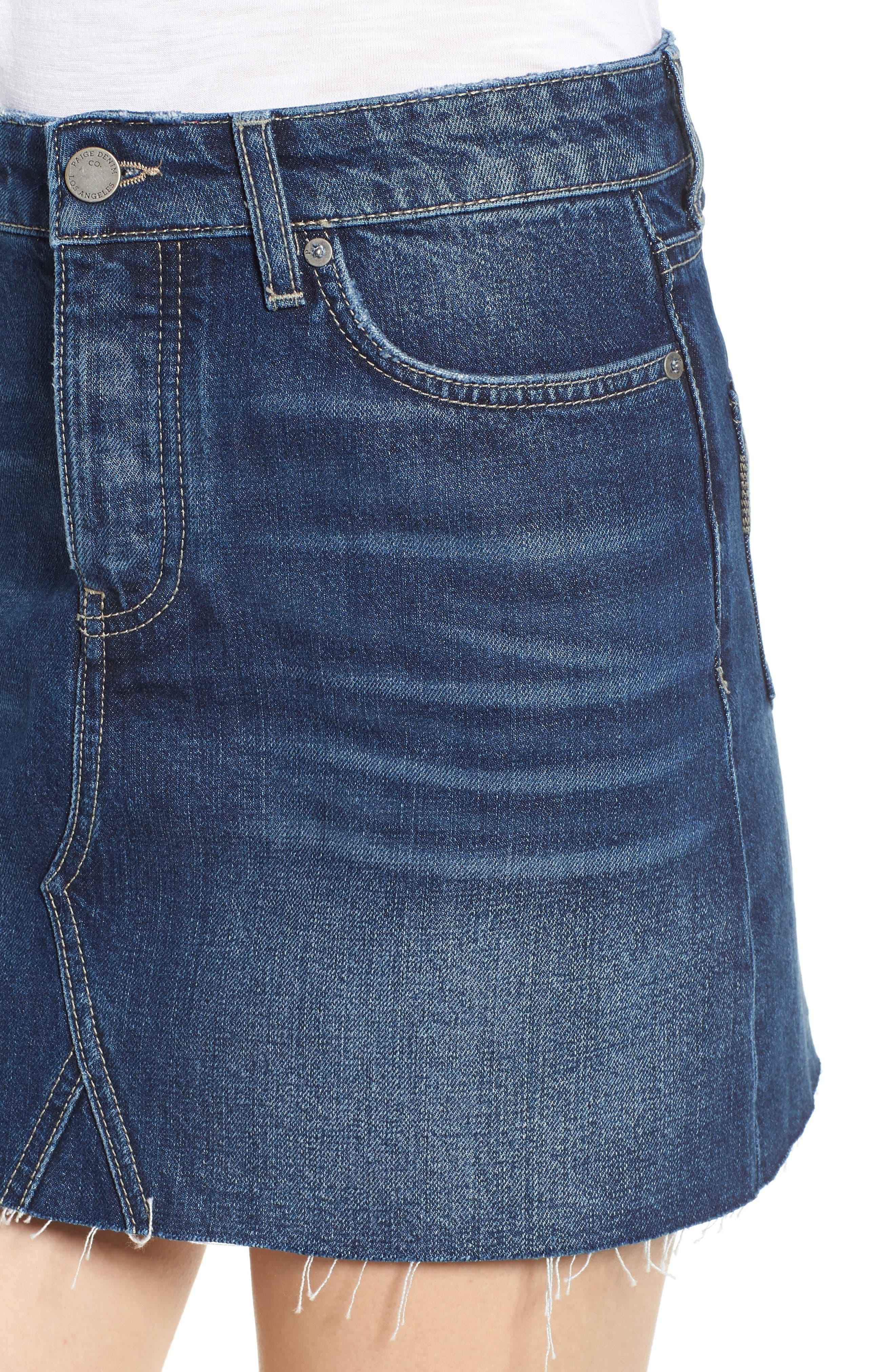 Aideen Denim Miniskirt,                             Alternate thumbnail 4, color,                             400
