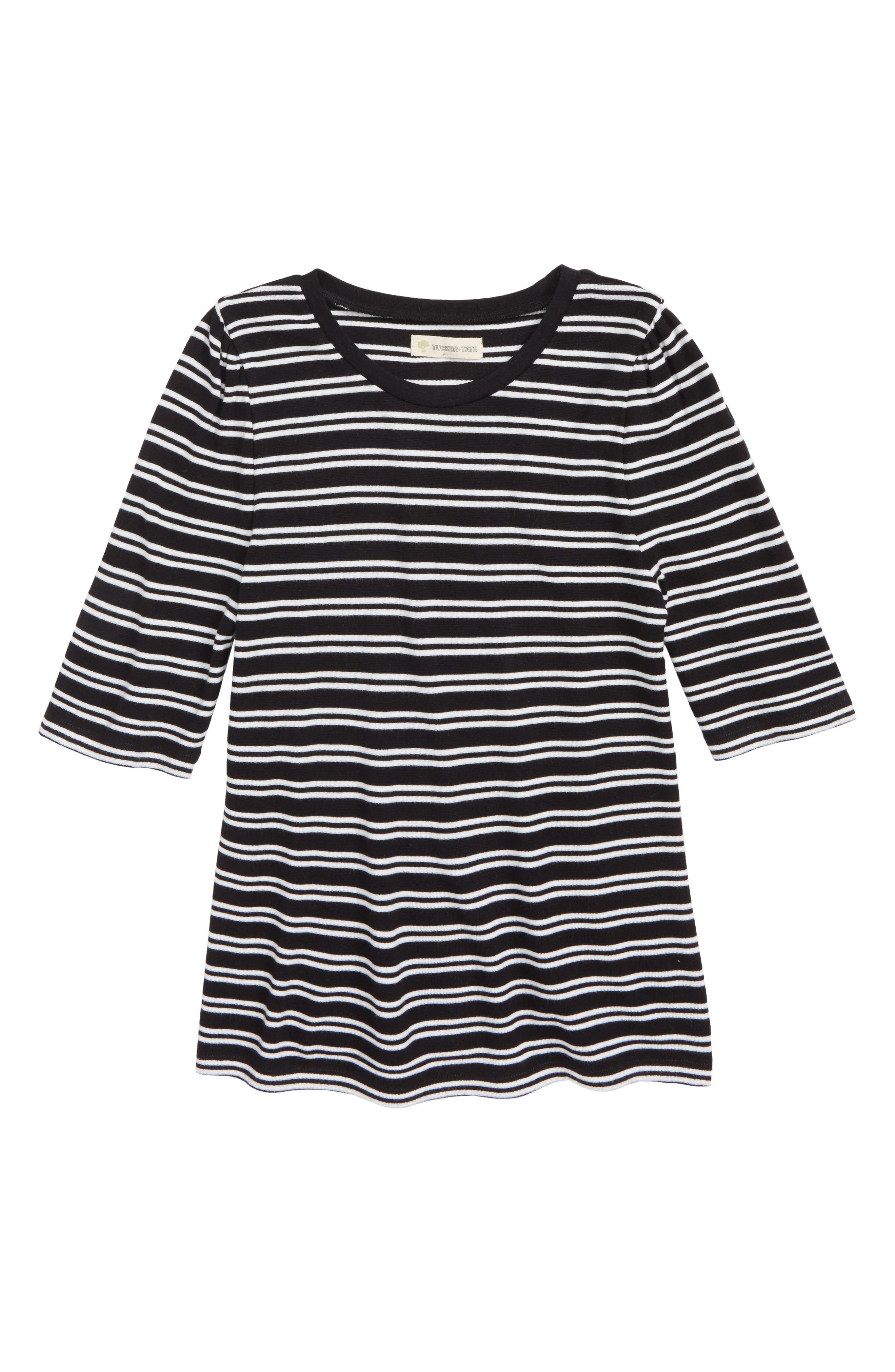 Stripe Puff Sleeve Tee,                             Main thumbnail 1, color,                             001