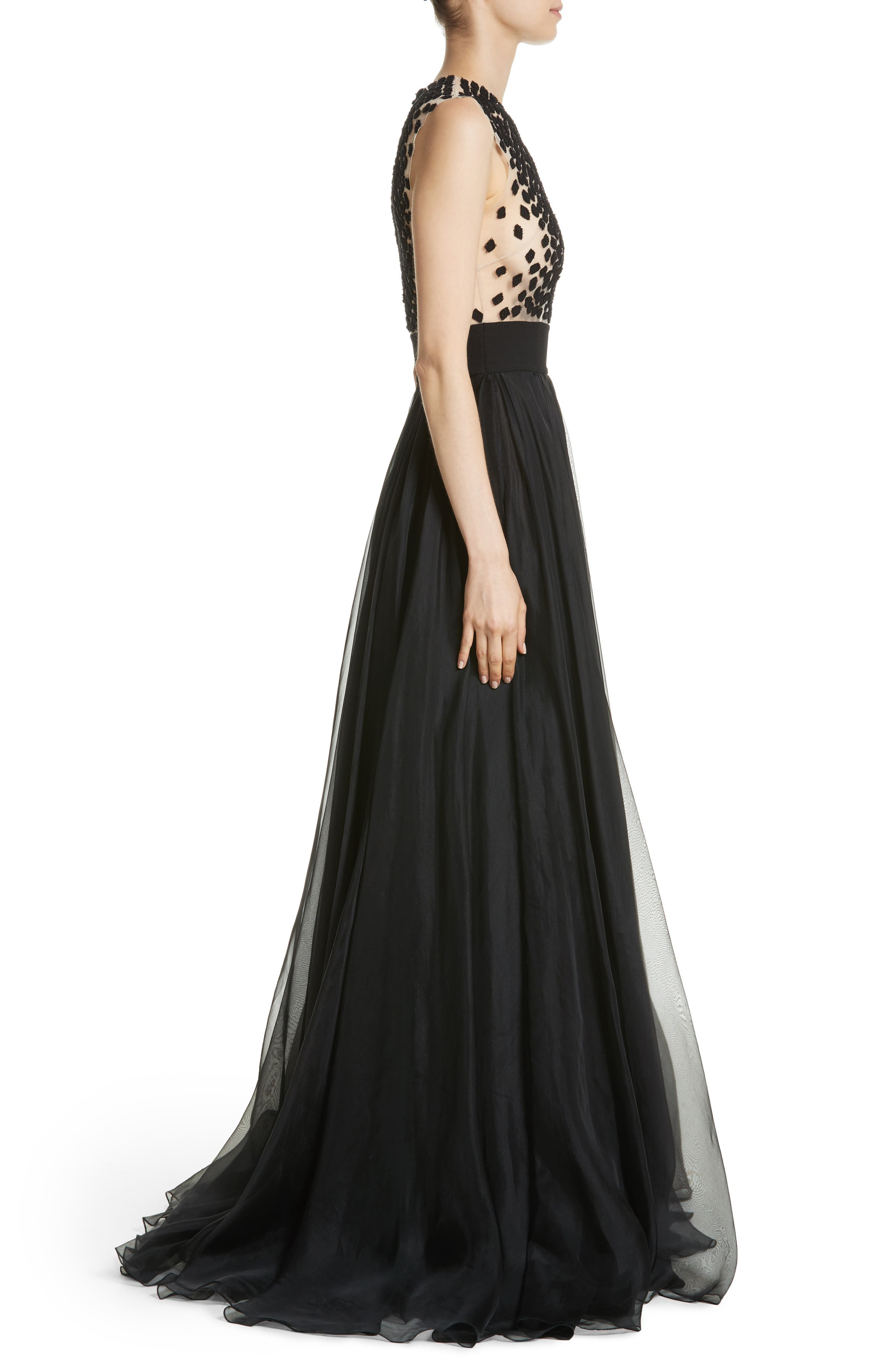 Carmen Marc Valvo Embroidered Organza Gown,                             Alternate thumbnail 3, color,                             BLACK
