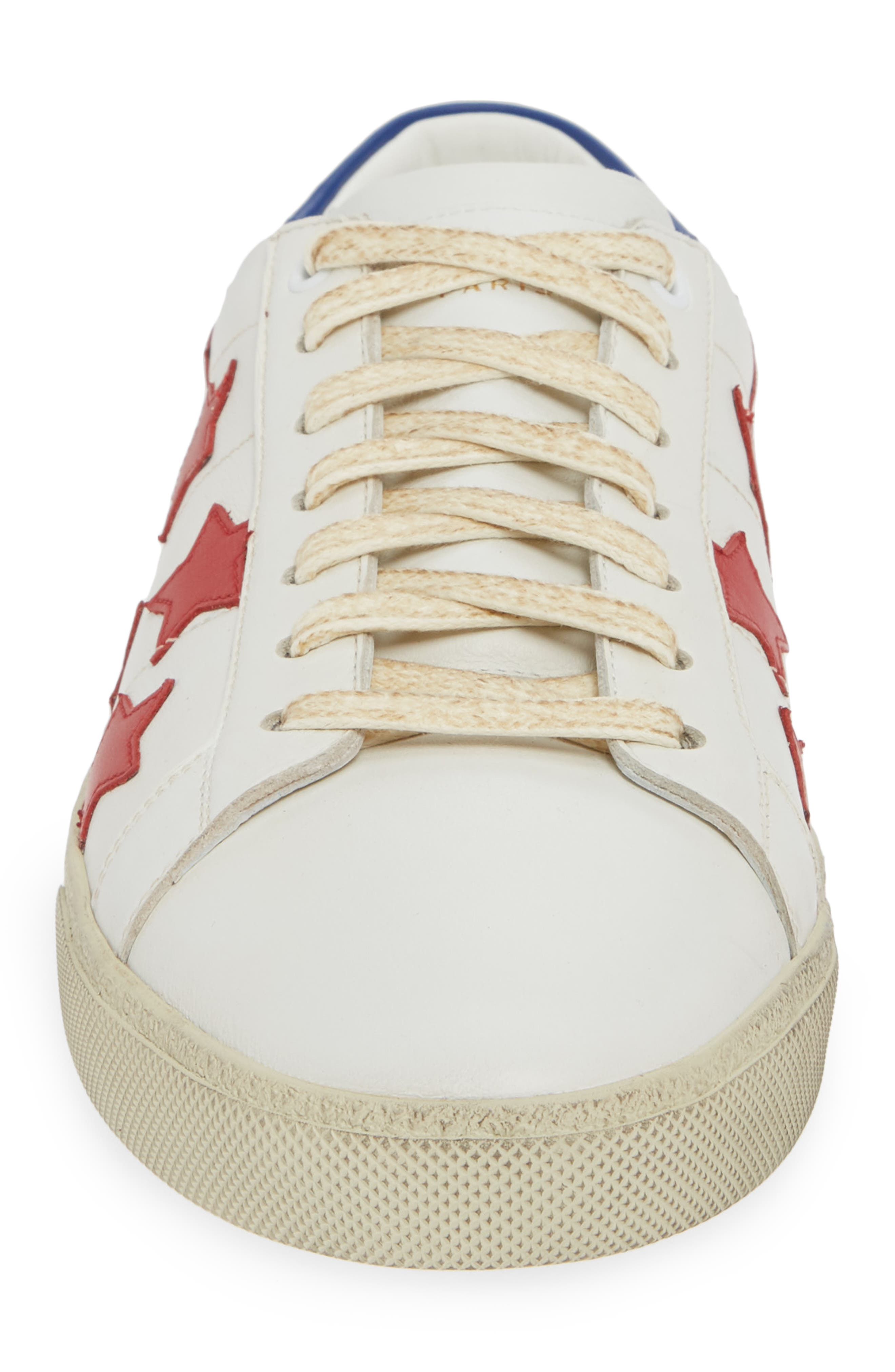 SAINT LAURENT,                             Star Low-Top Sneaker,                             Alternate thumbnail 4, color,                             WHITE/ MULTI
