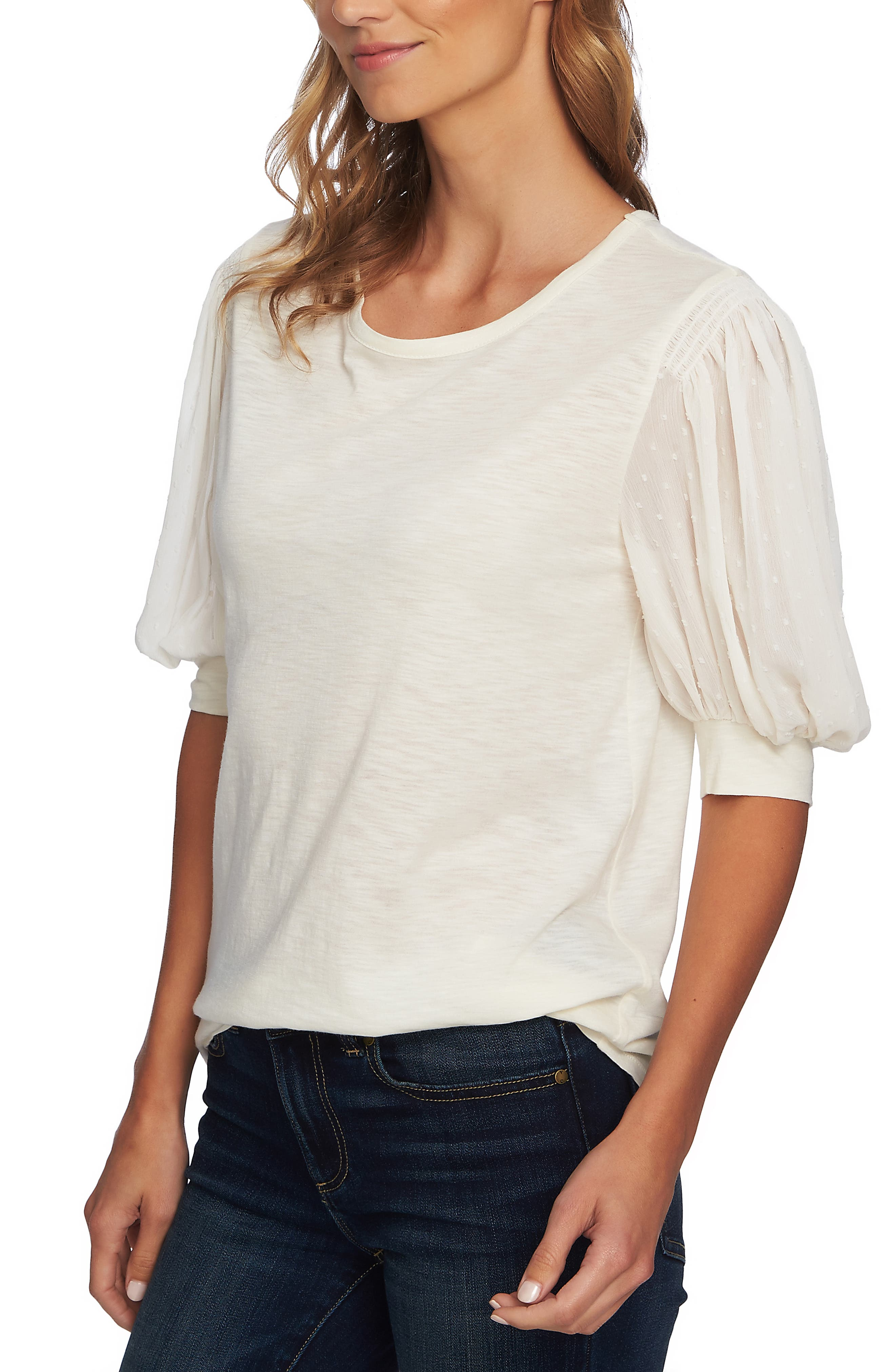 Puffed Sleeve Tee,                             Alternate thumbnail 3, color,                             ANTIQUE WHITE