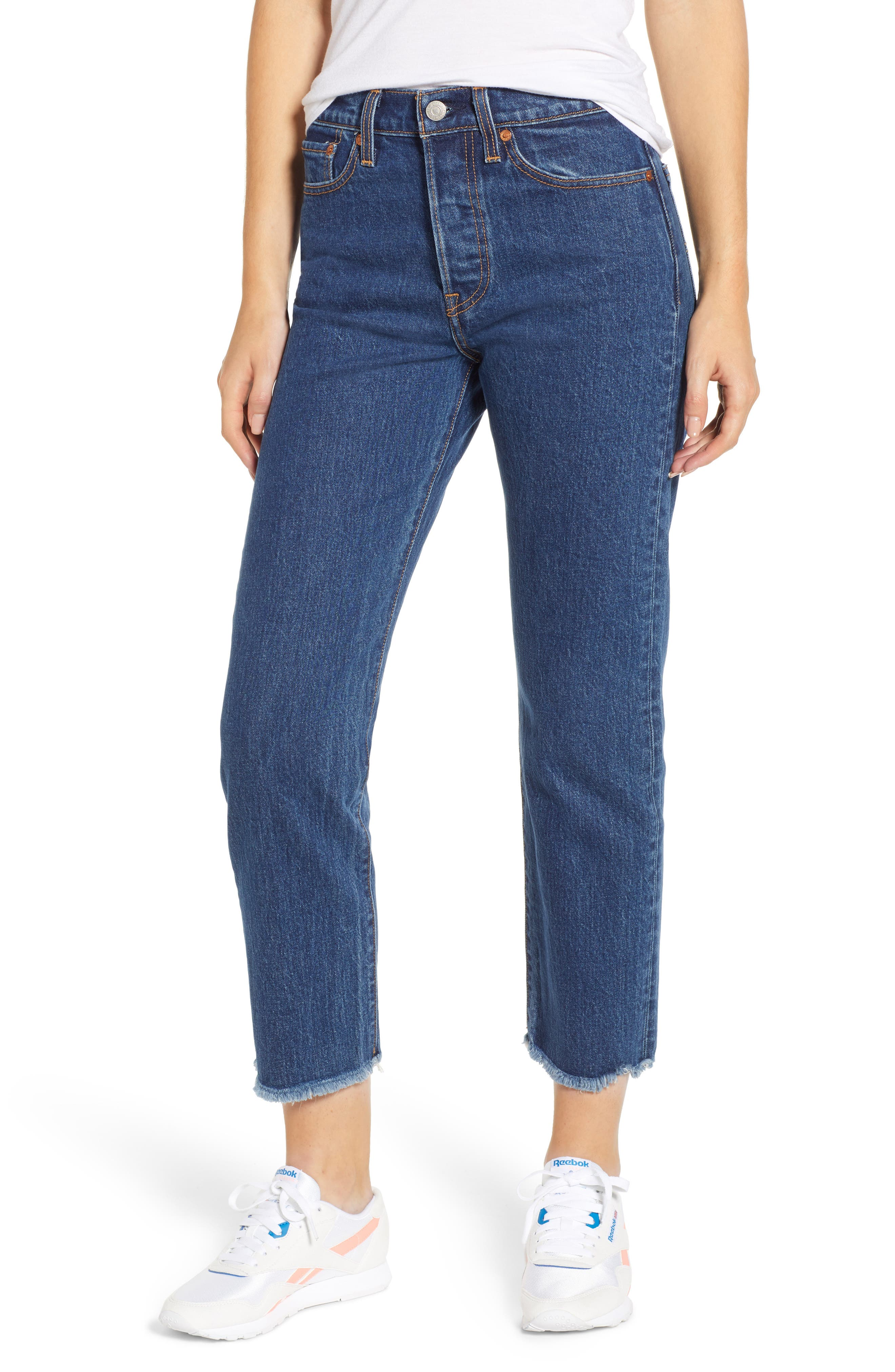 Wedgie High Waist Ankle Straight Leg Jeans,                             Main thumbnail 1, color,                             BELOW THE BELT