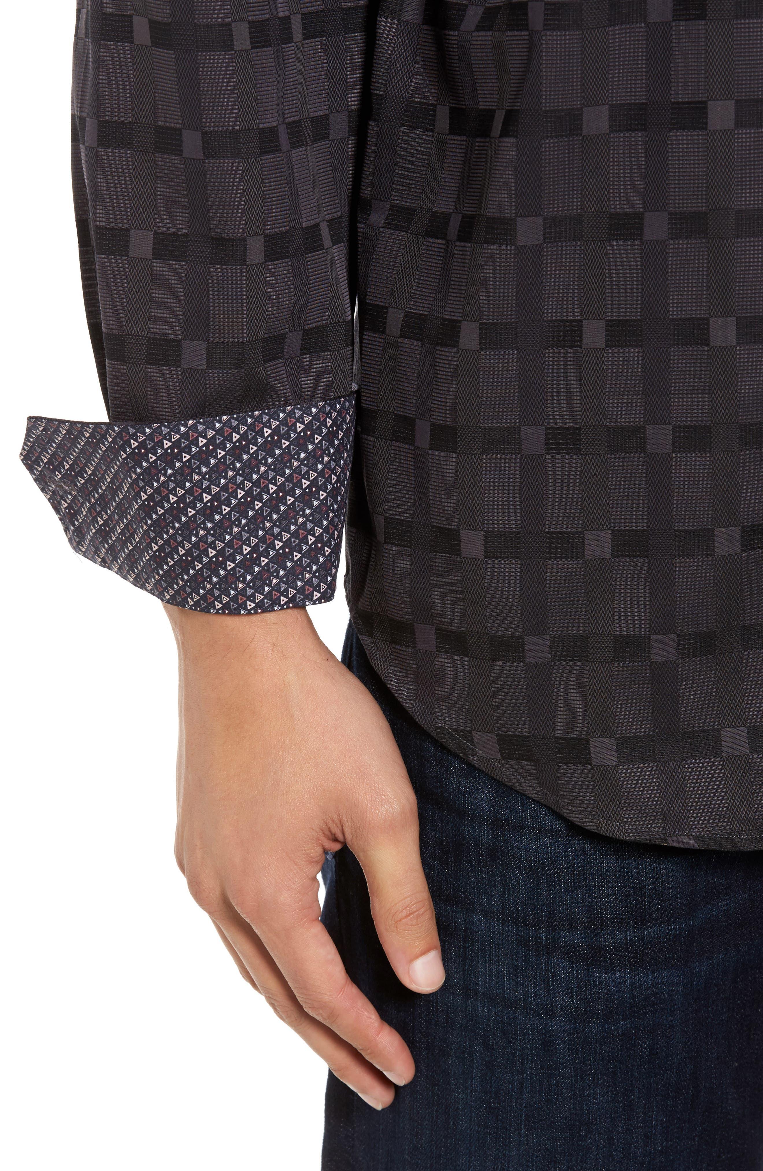Classic Fit Check Jacquard Sport Shirt,                             Alternate thumbnail 4, color,