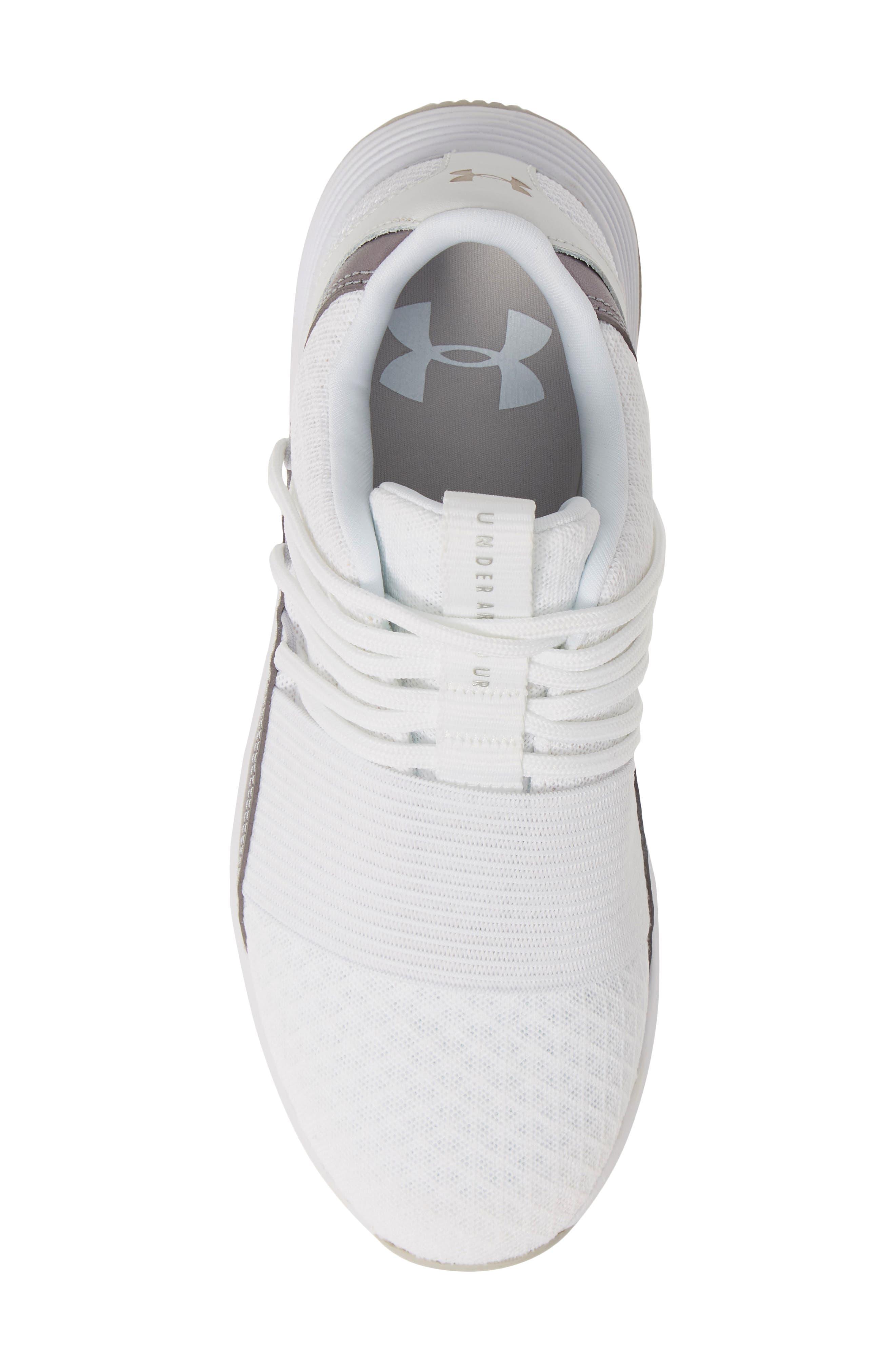 UNDER ARMOUR,                             Breathe Lace X NM Sneaker,                             Alternate thumbnail 5, color,                             WHITE/ WHITE/ METALLIC BLUSH