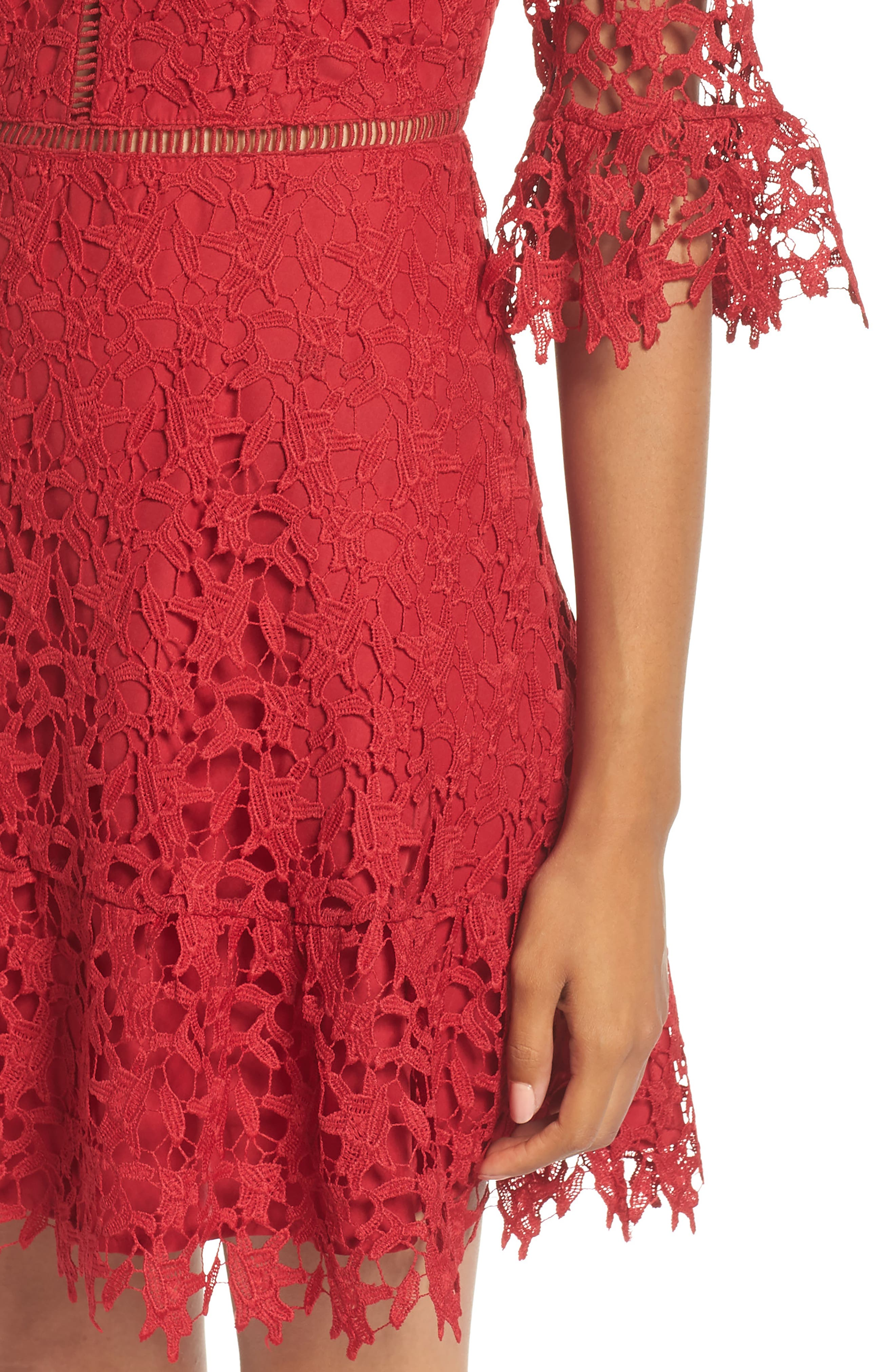 In the Moment Lace Dress,                             Alternate thumbnail 4, color,                             SCARLET RED